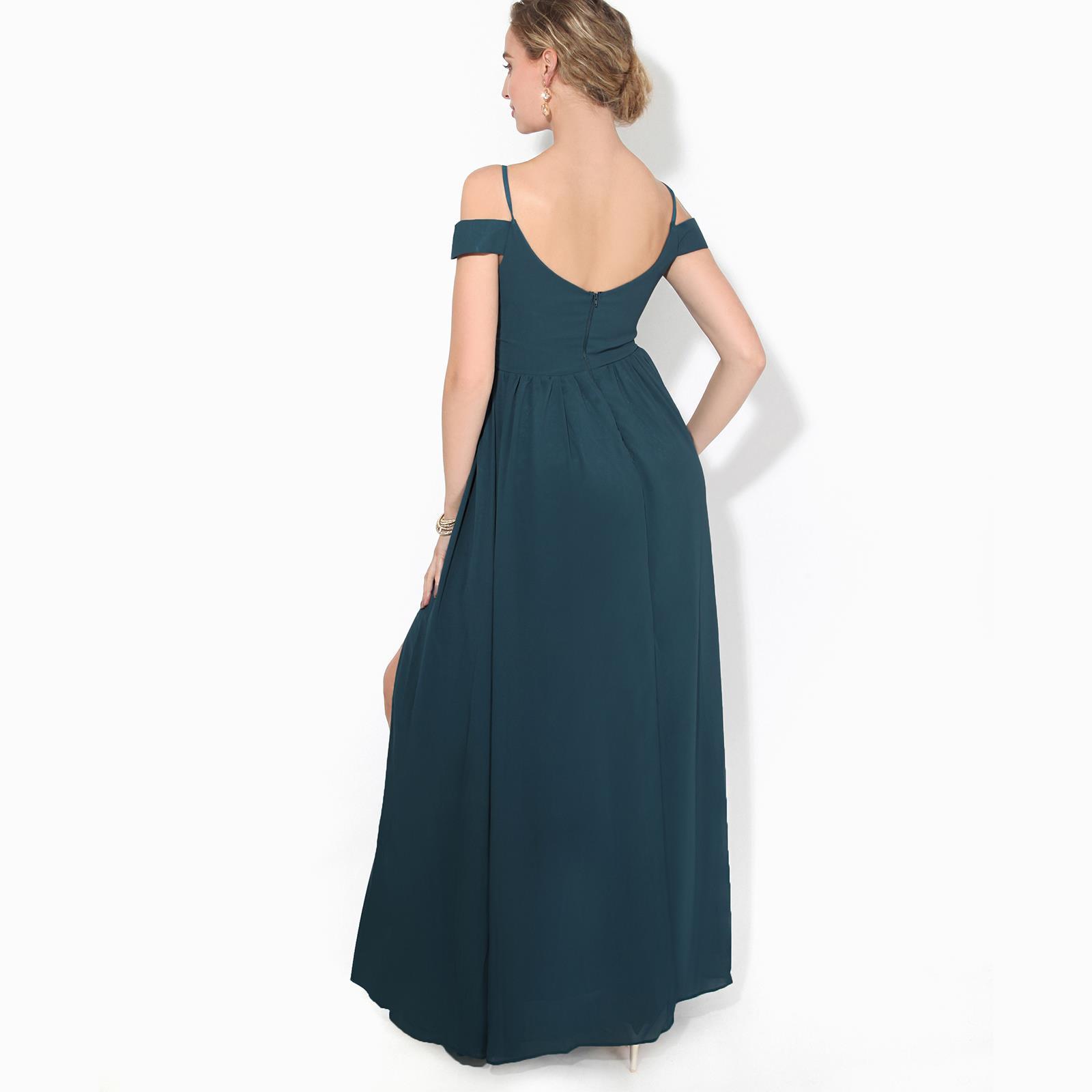 Womens-Ladies-Off-Shoulder-Formal-Maxi-Dress-Slit-Split-Long-Gown-Wedding-Party thumbnail 13