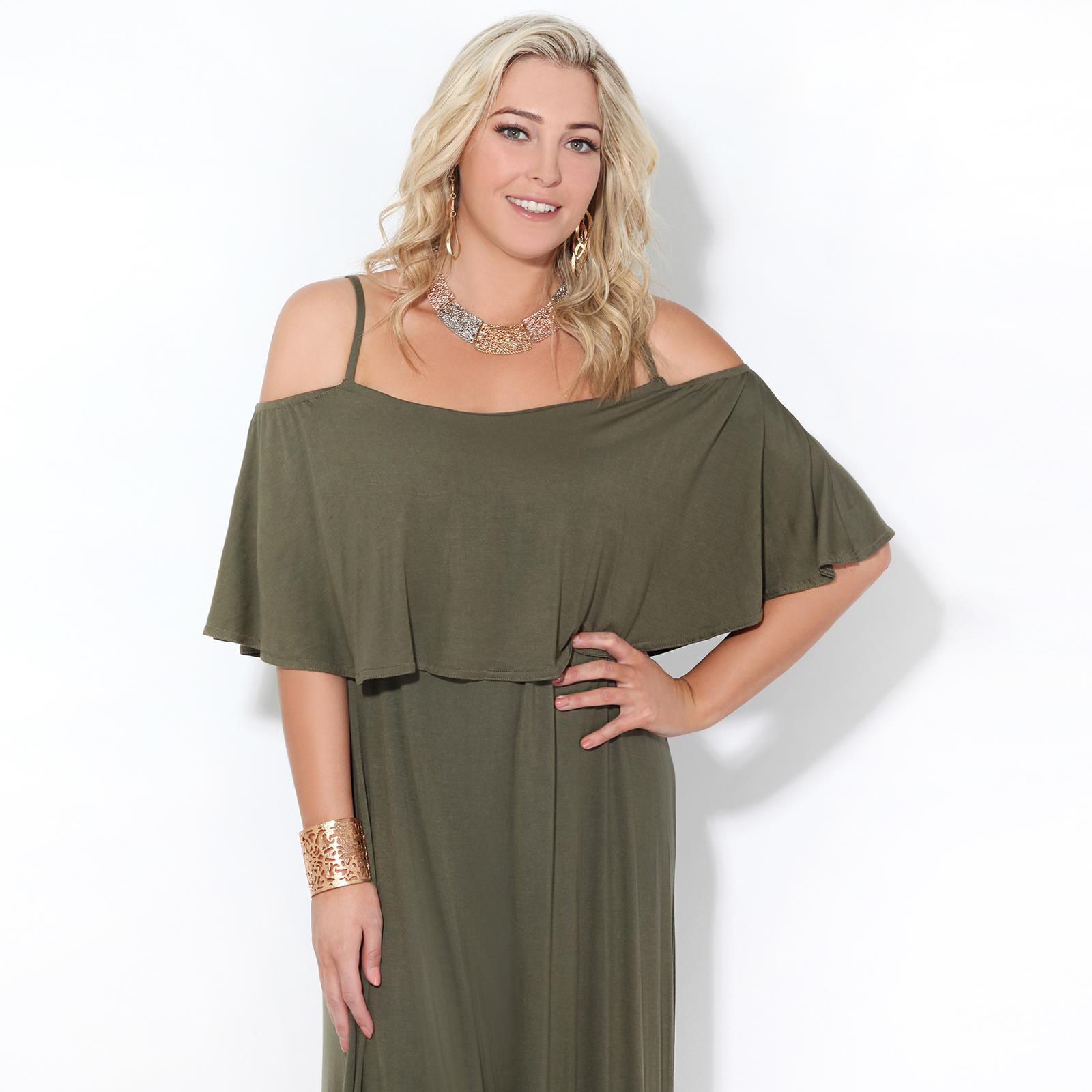 Womens-Ladies-Maxi-Dress-Sundress-Cold-Off-Shoulder-Strappy-Ruffle-Jersey-Summer thumbnail 6