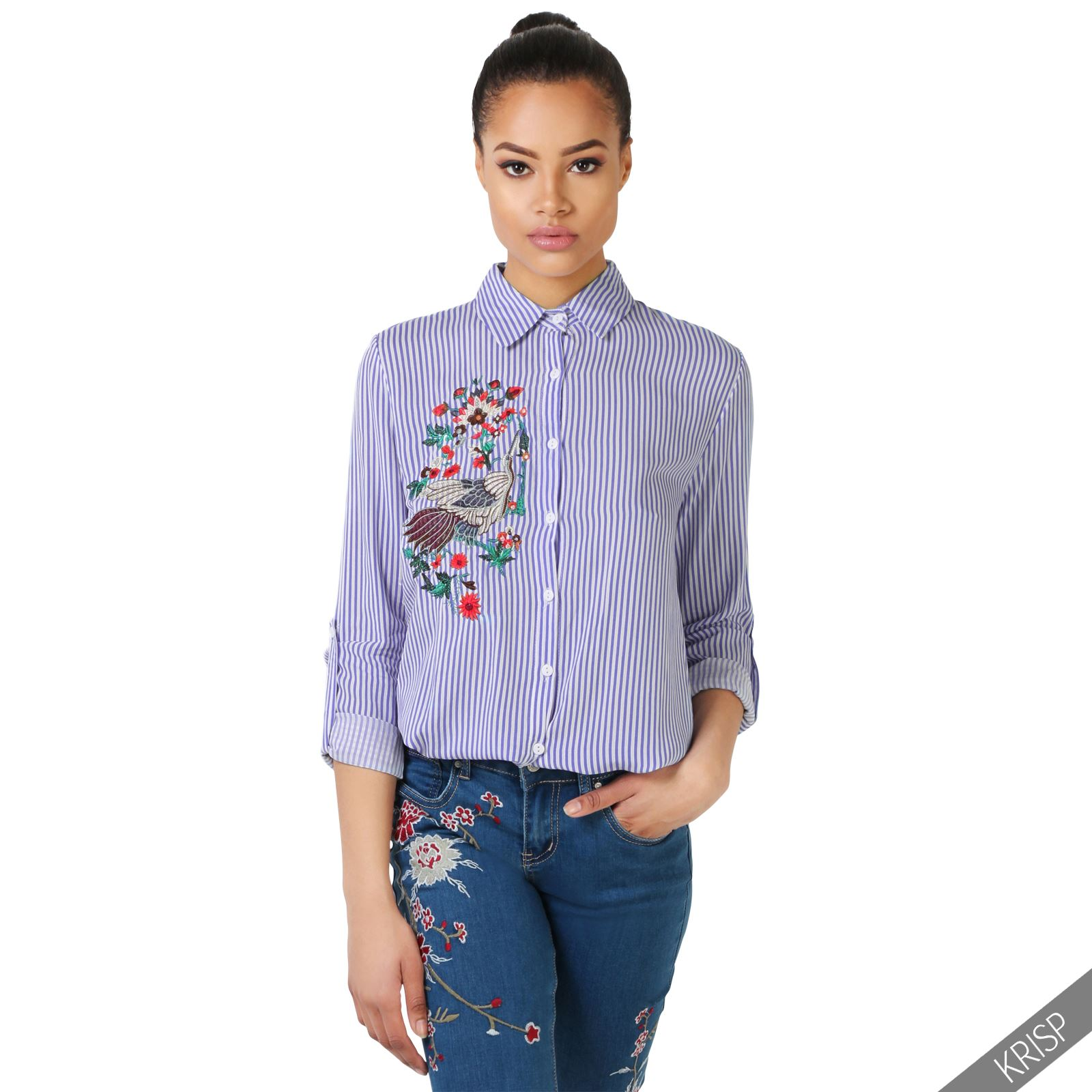 Womens Striped Flower Embroidered Shirt Ladies Button Up