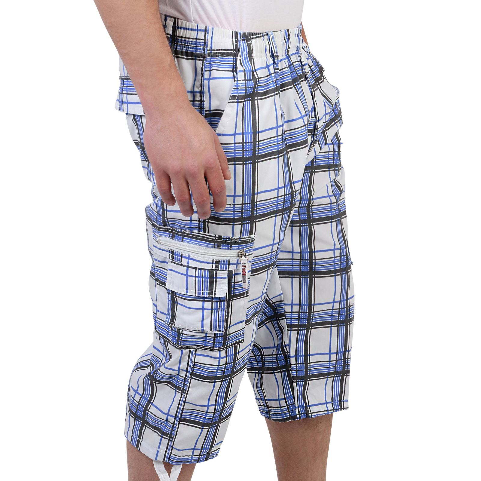 herren knielange karo bermuda cargo shorts kurze hose kariert baumwolle sommer ebay. Black Bedroom Furniture Sets. Home Design Ideas