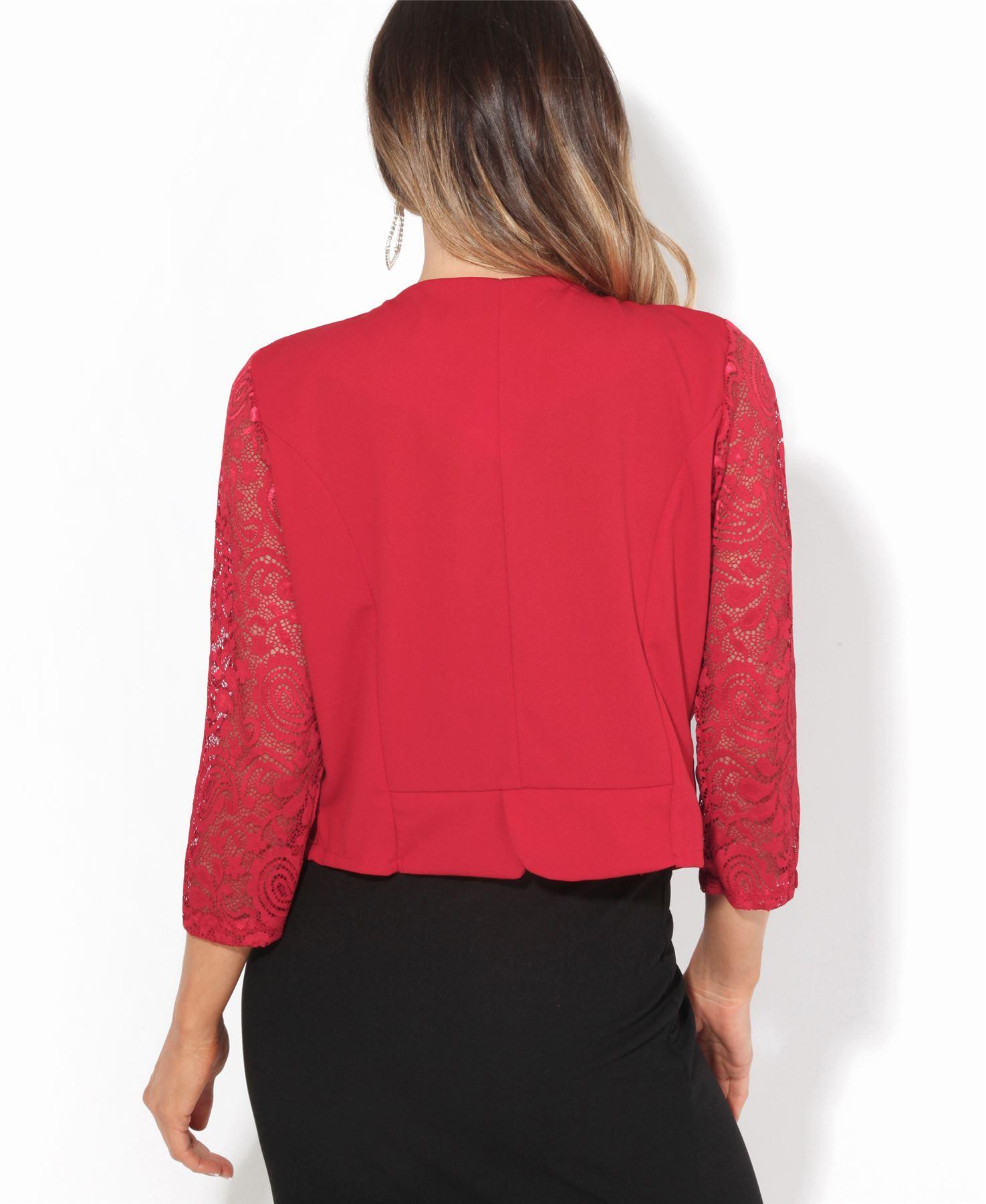 e2fed90eaf25ed Womens Ladies Lace Bolero Shrug Short Sleeve Cropped Top Cardigan ...