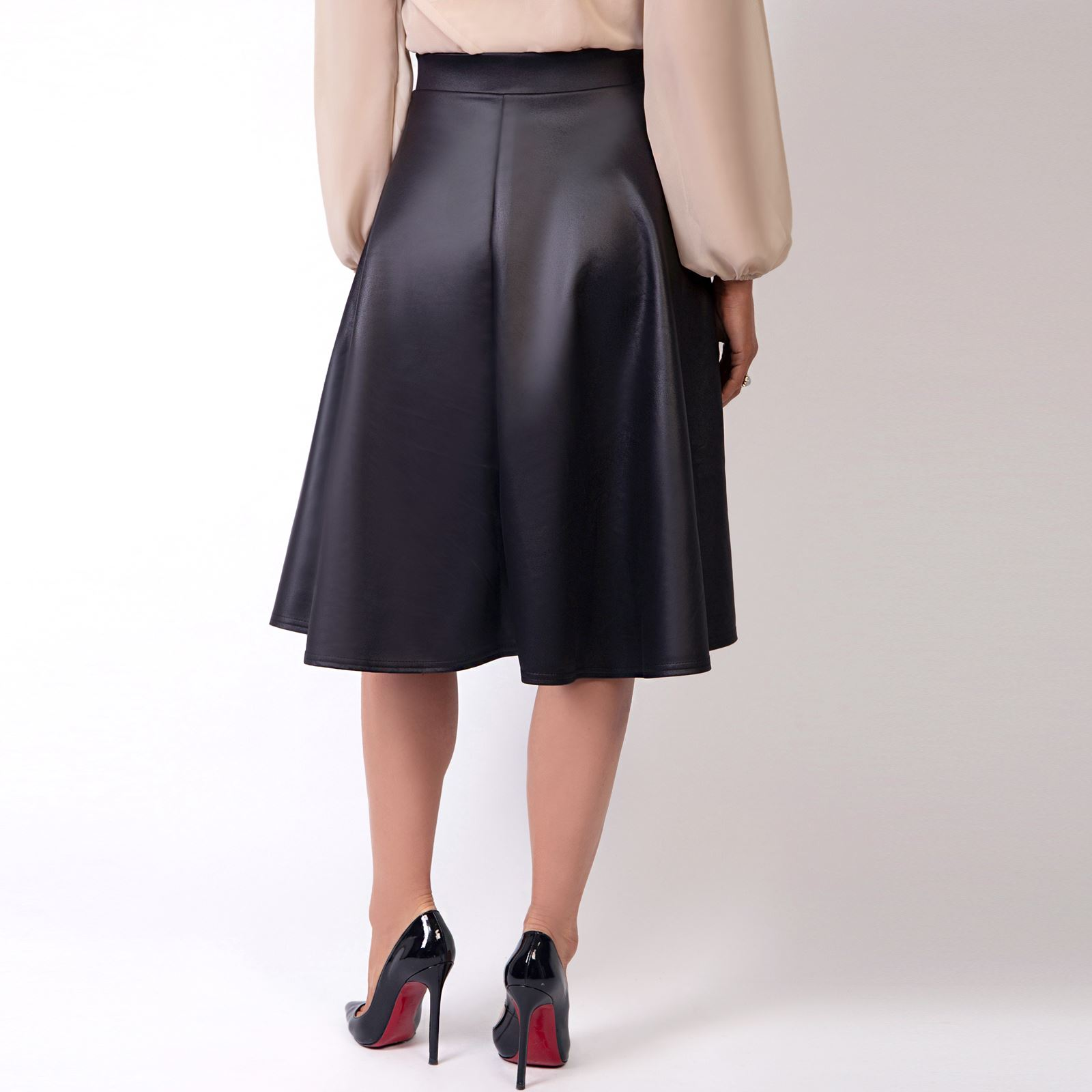 Womens-Ladies-PVC-Leather-Skirt-Pleated-Midi-Flared-A-Line-Full-Swing-High-Waist thumbnail 3