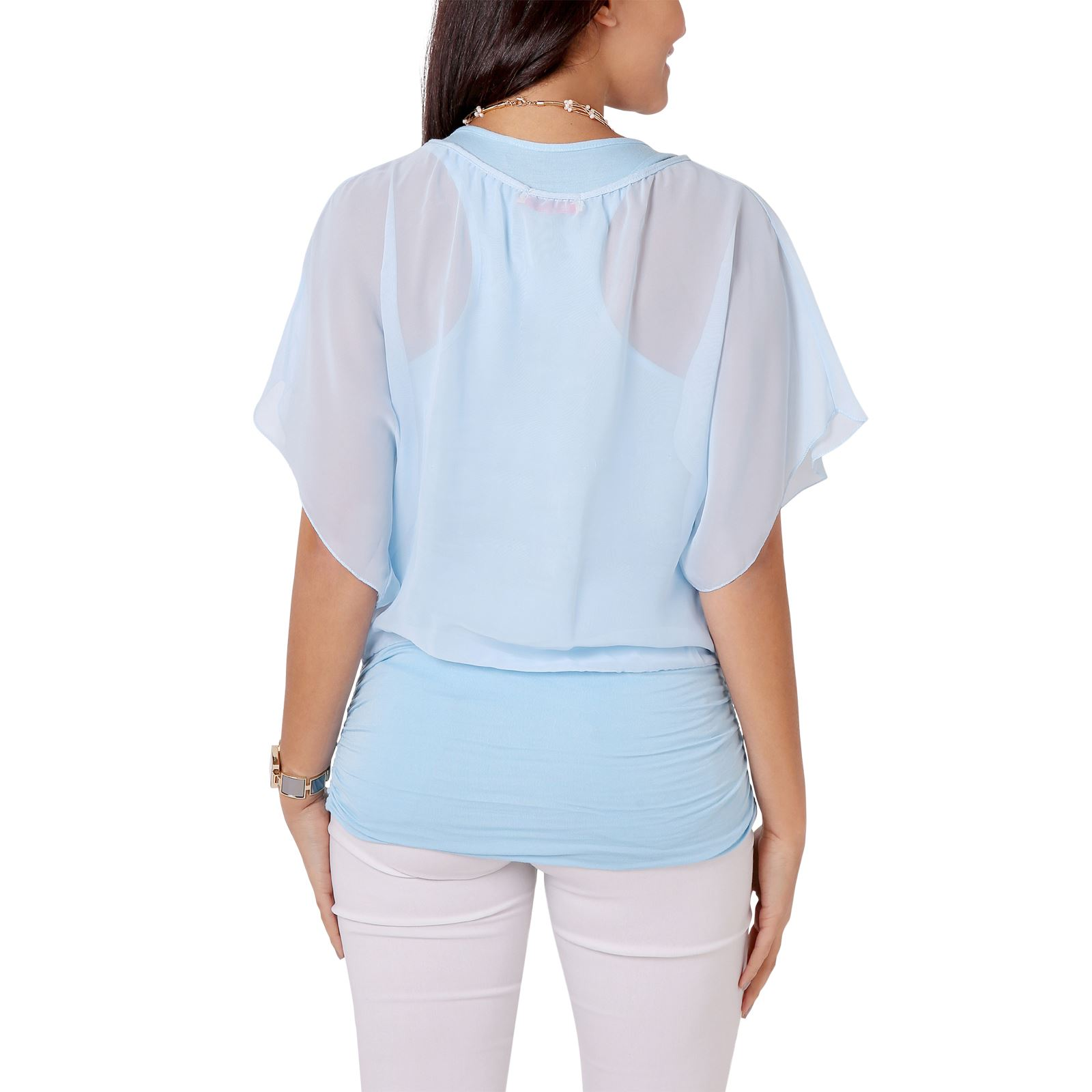 Womens-Scoop-Neck-Blouse-Baggy-Batwing-T-Shirt-Top-Ladies-Oversized-Chiffon-2in1 thumbnail 3