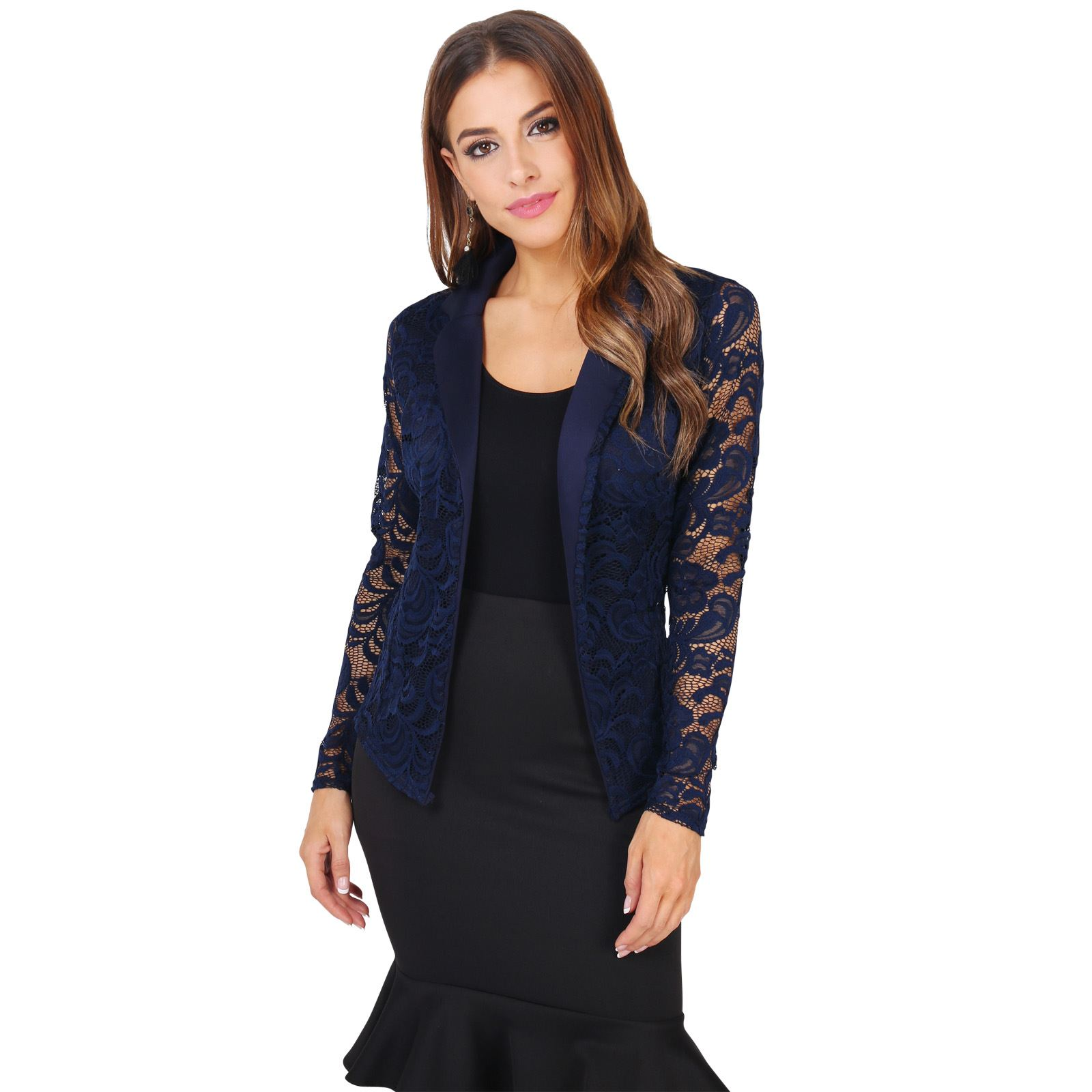 nuevo concepto 33b39 9f918 Detalles de Chaqueta Mujer Fiesta Punto Encaje Blazer Elegante Cardigan  Solapa Boda Original