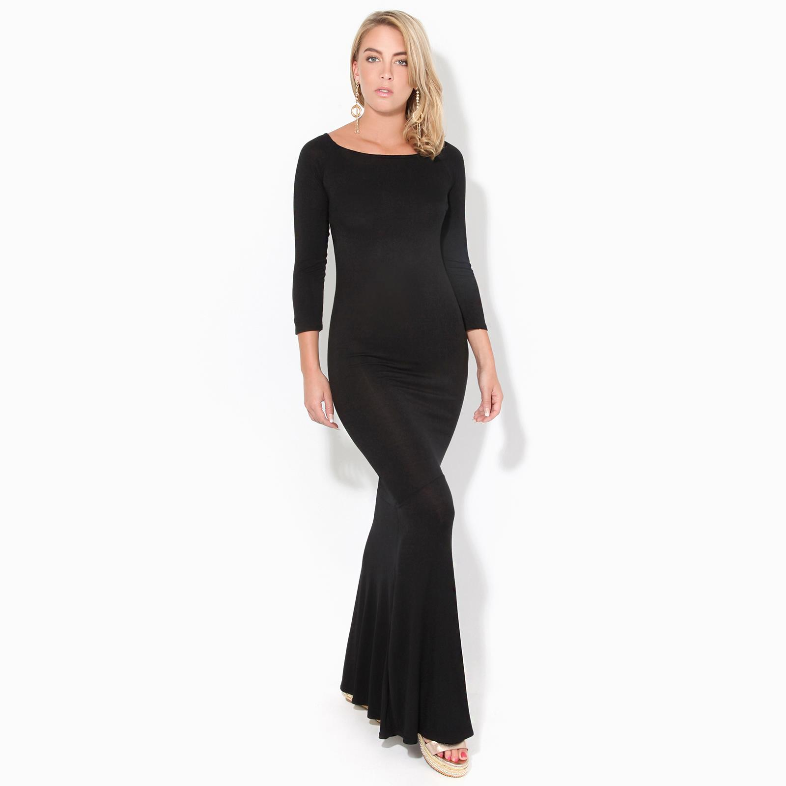 Womens-Ladies-Bodycon-Maxi-Dress-Off-Shoulder-Fishtail-Bardot-Long-Evening-Party thumbnail 5