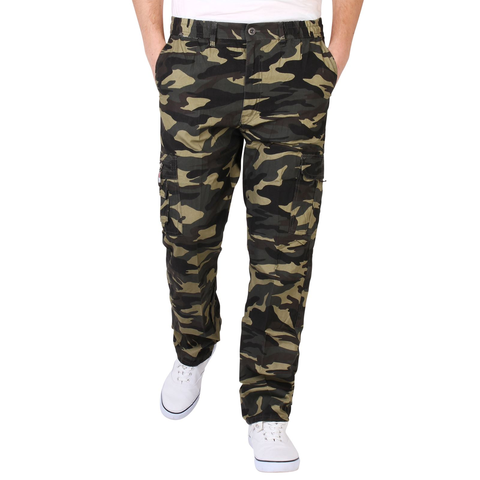 homme pantalon imprim camouflage cargo multi poches style militaire ebay. Black Bedroom Furniture Sets. Home Design Ideas