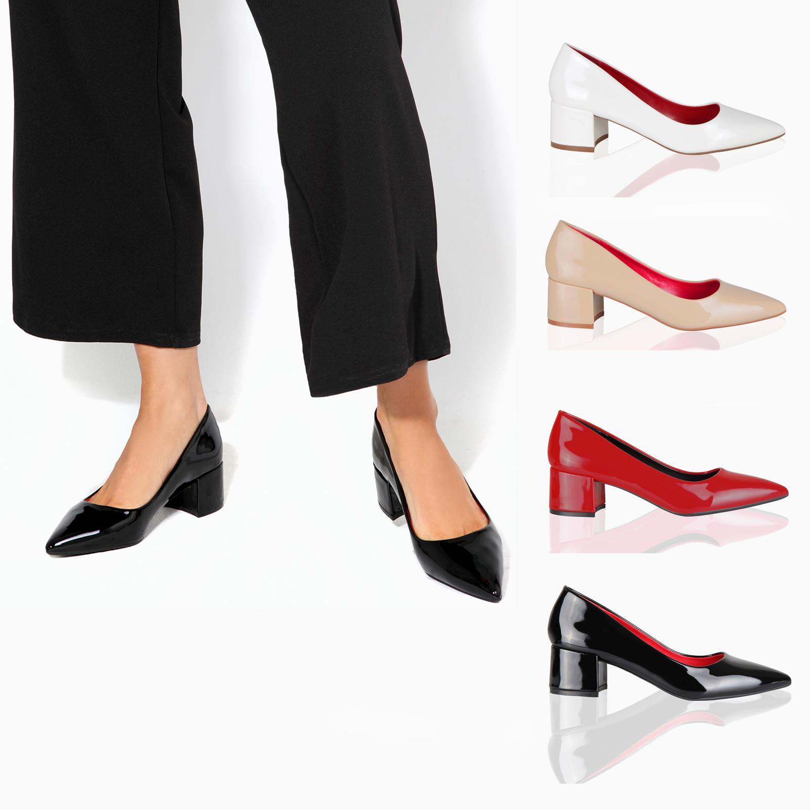Womens Low Mid Kitten Heel Office Shoes Lady Slip On Pumps Court Work Shoes UK