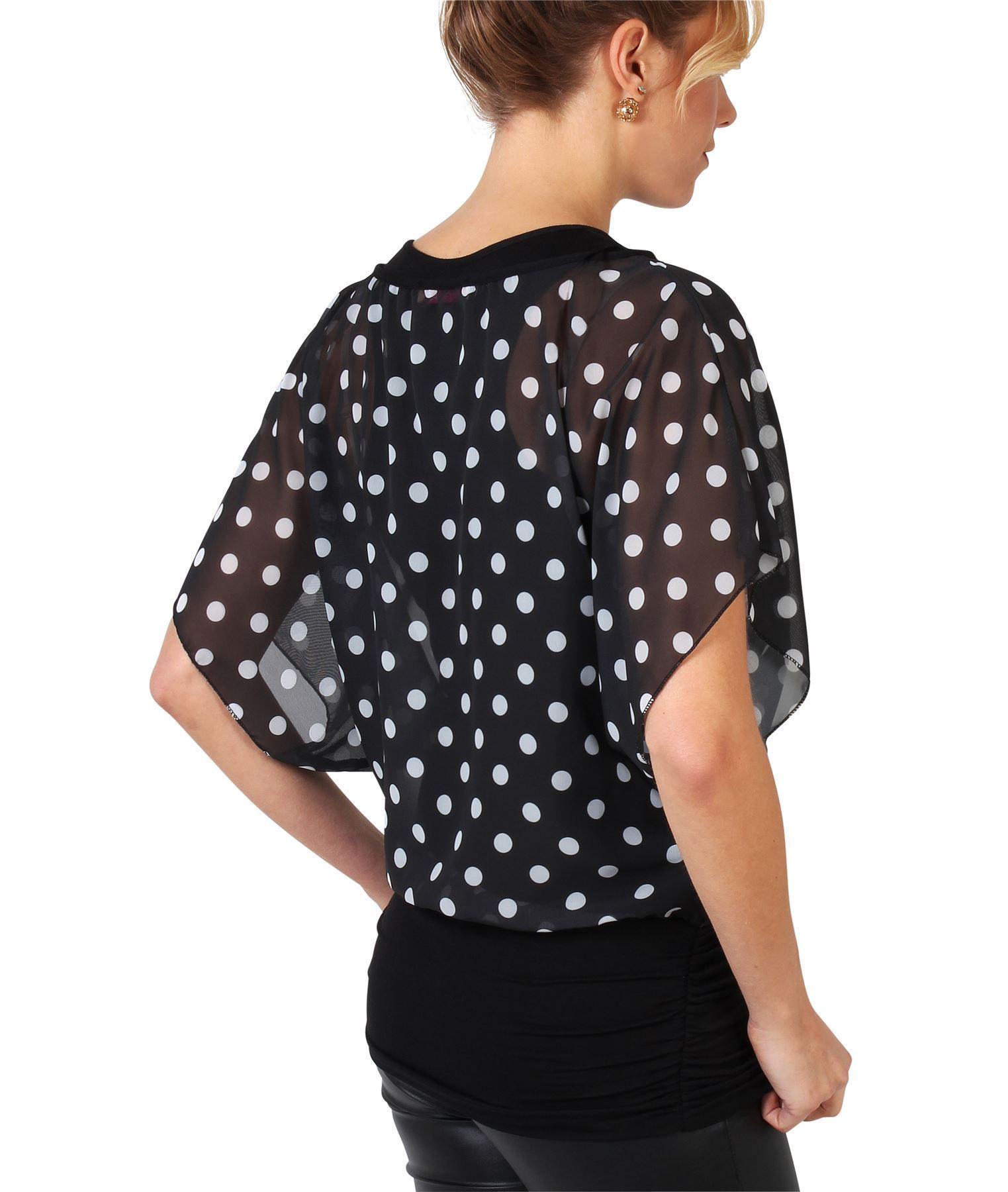 Damen-2in1-Chiffon-Bluse-Leichtes-Top-Weite-Fledermausaermel-Oversize-Kurzarm Indexbild 33