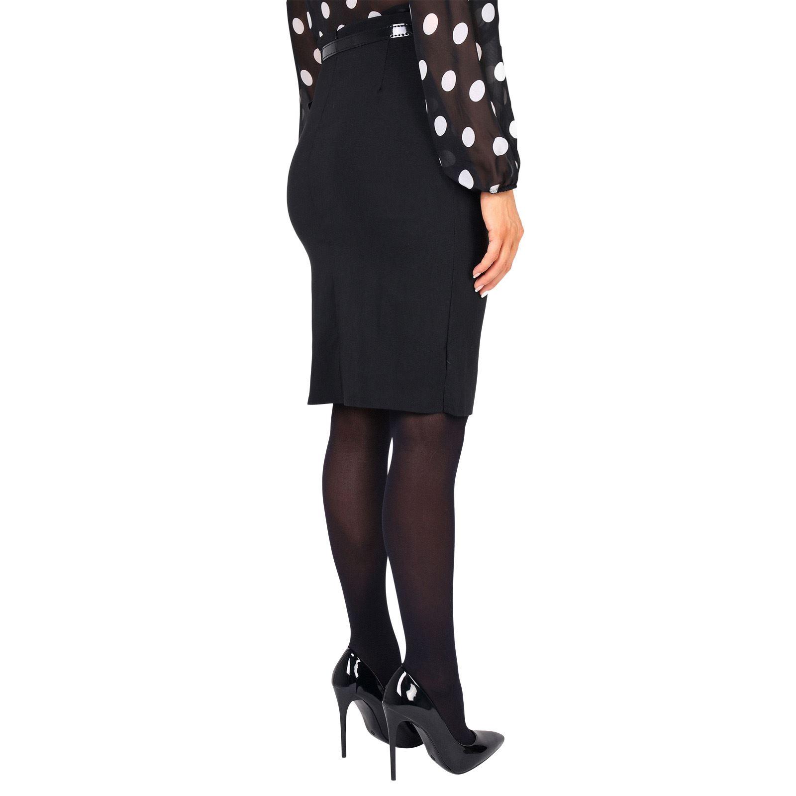 Falda Mujer Negra Ajustada Lápiz Tubo Oficina Uniforme Traje ... 0e316931a248