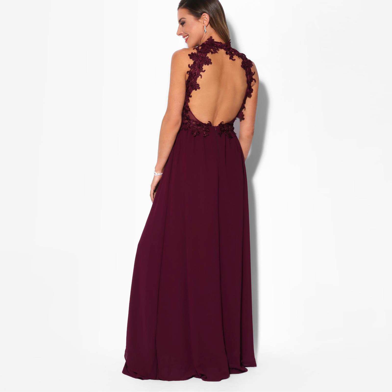 Women-Lace-Halterneck-Maxi-Dress-Long-Evening-Cocktail-Ball-Gown-Formal-Party thumbnail 13