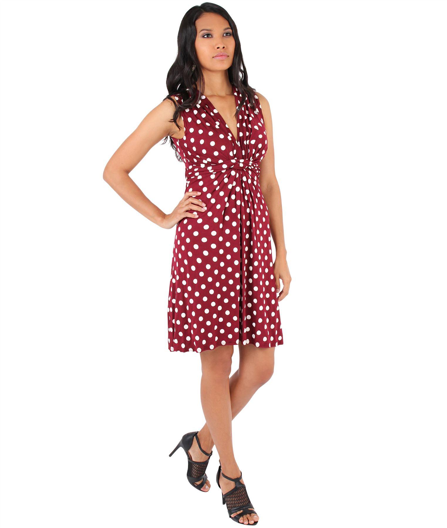 Womens-Polka-Dot-Retro-Dress-Pleated-Skirt-Wrap-Mini-V-Neck-Top-Swing-Party thumbnail 39