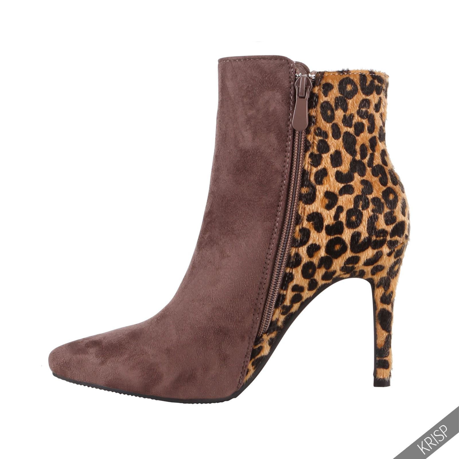 damen leoparden stiefeletten mit absatz gef ttert ankle. Black Bedroom Furniture Sets. Home Design Ideas
