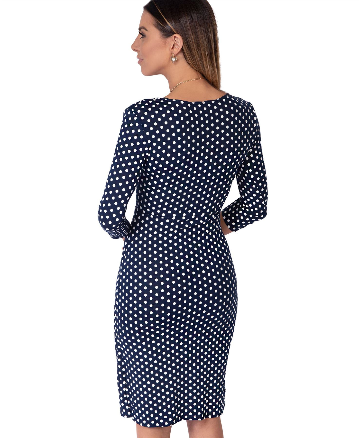 Womens-Polka-Dot-Dress-Pleated-Skirt-Wrap-Front-Midi-V-Neck-Top-Swing-Party thumbnail 22