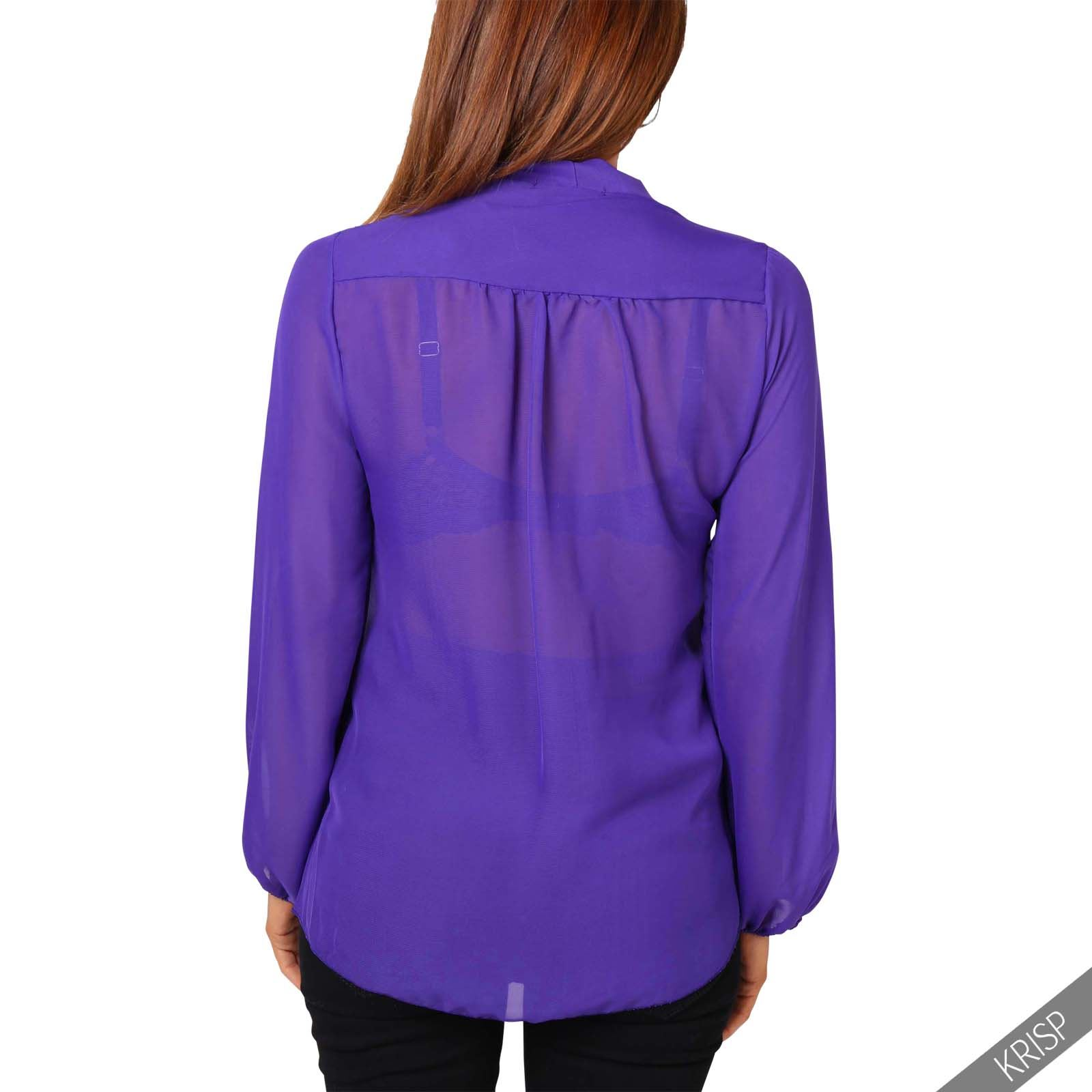 KRISP Womens See Through Chiffon Blouse Ladies Tie Long Sleeve ...