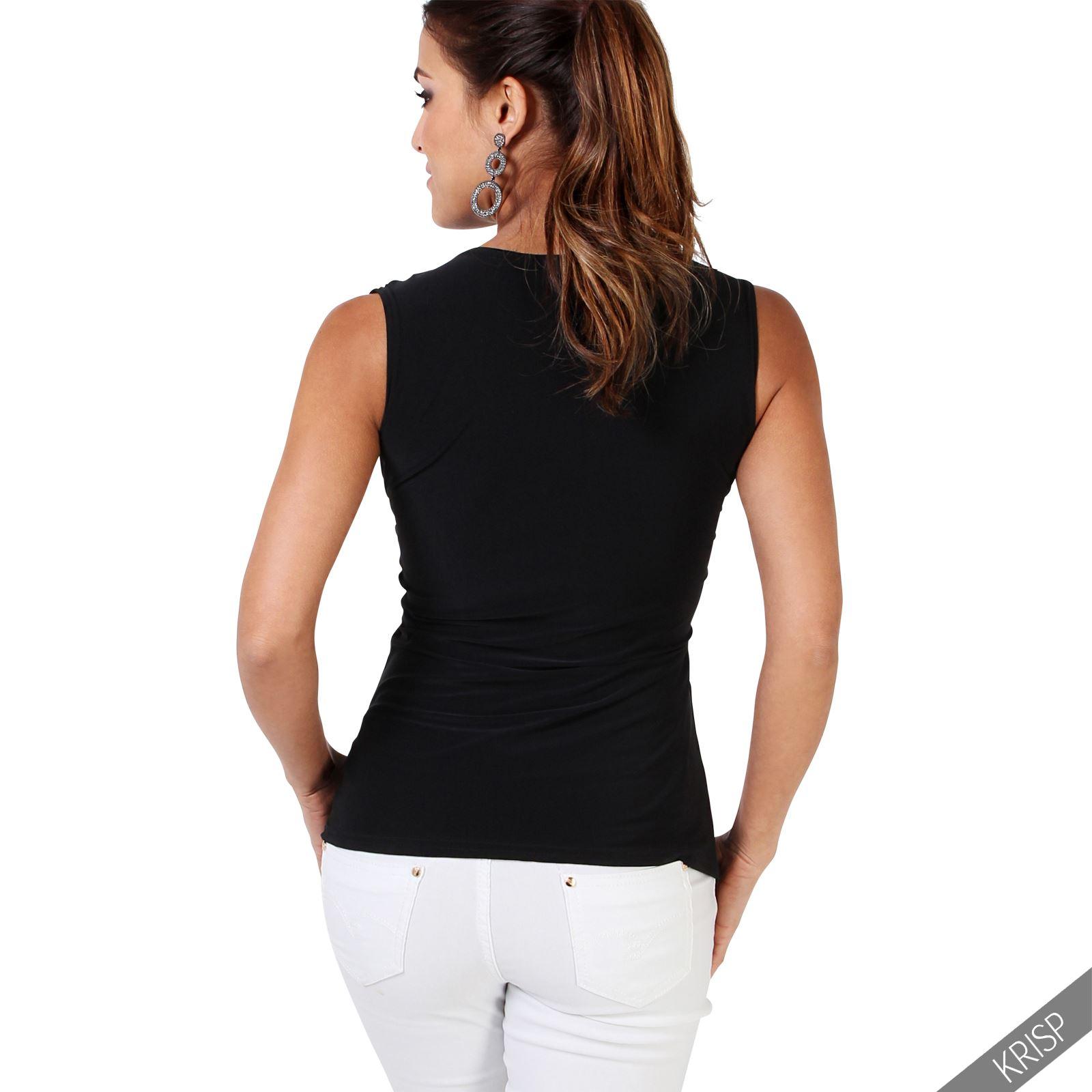 Femmes-Haut-Debardeur-T-shirt-Tee-Shirt-Top-Sans-Manche-Uni-Affaires-Ete-Plage miniature 10