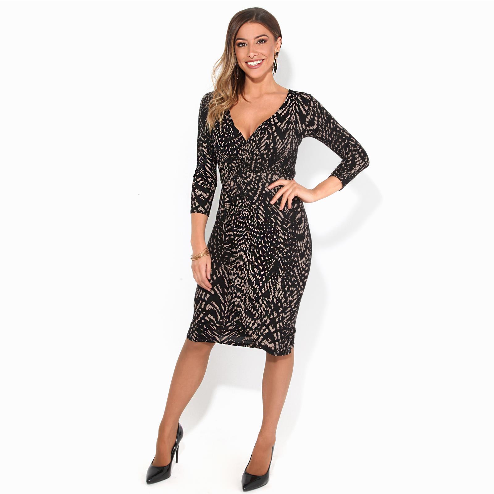 Womens-V-Neck-Dress-Top-Bodycon-Skirt-Midi-Snakeskin-Print-Cross-Over-Party-Wrap thumbnail 12