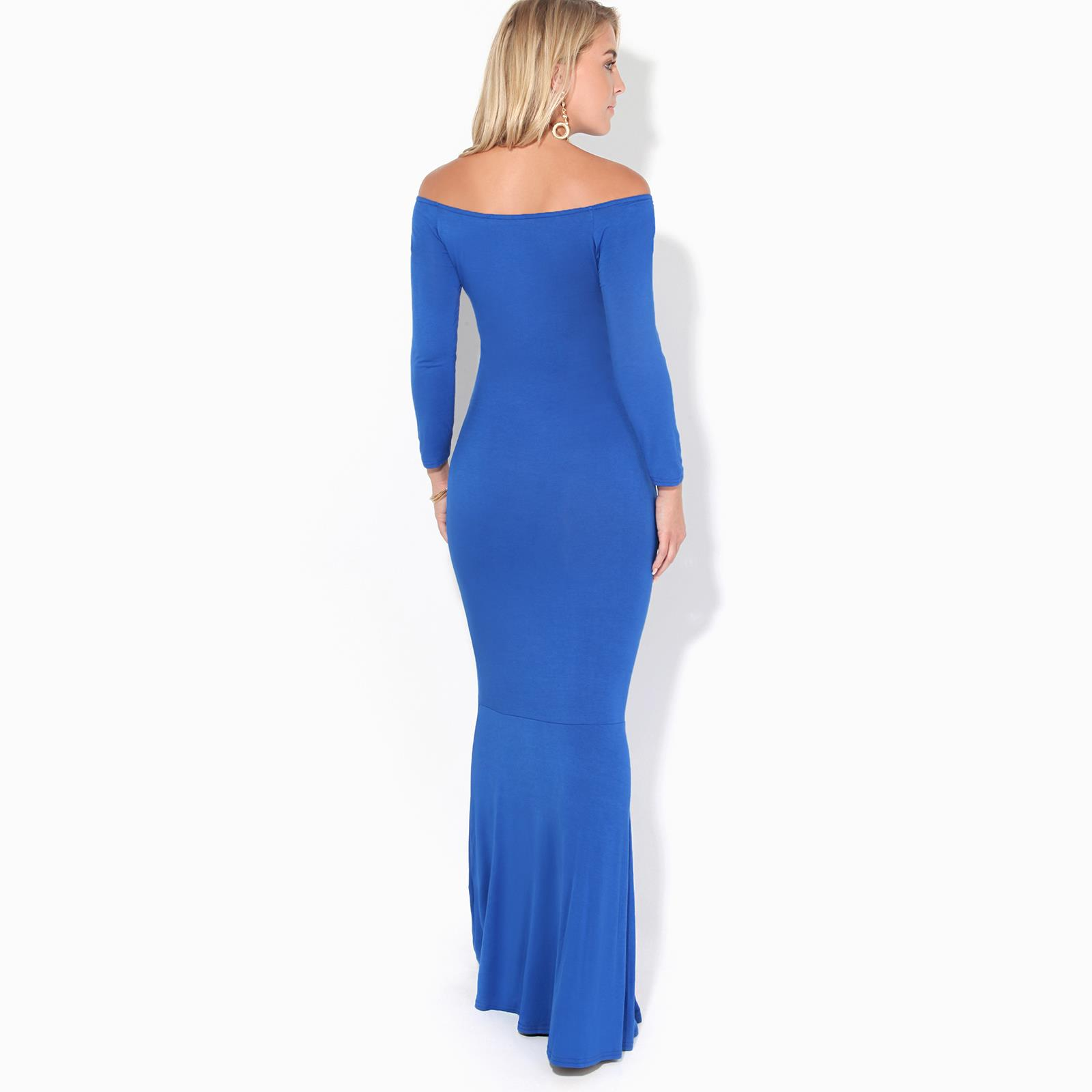 Womens-Ladies-Bodycon-Maxi-Dress-Off-Shoulder-Fishtail-Bardot-Long-Evening-Party thumbnail 8