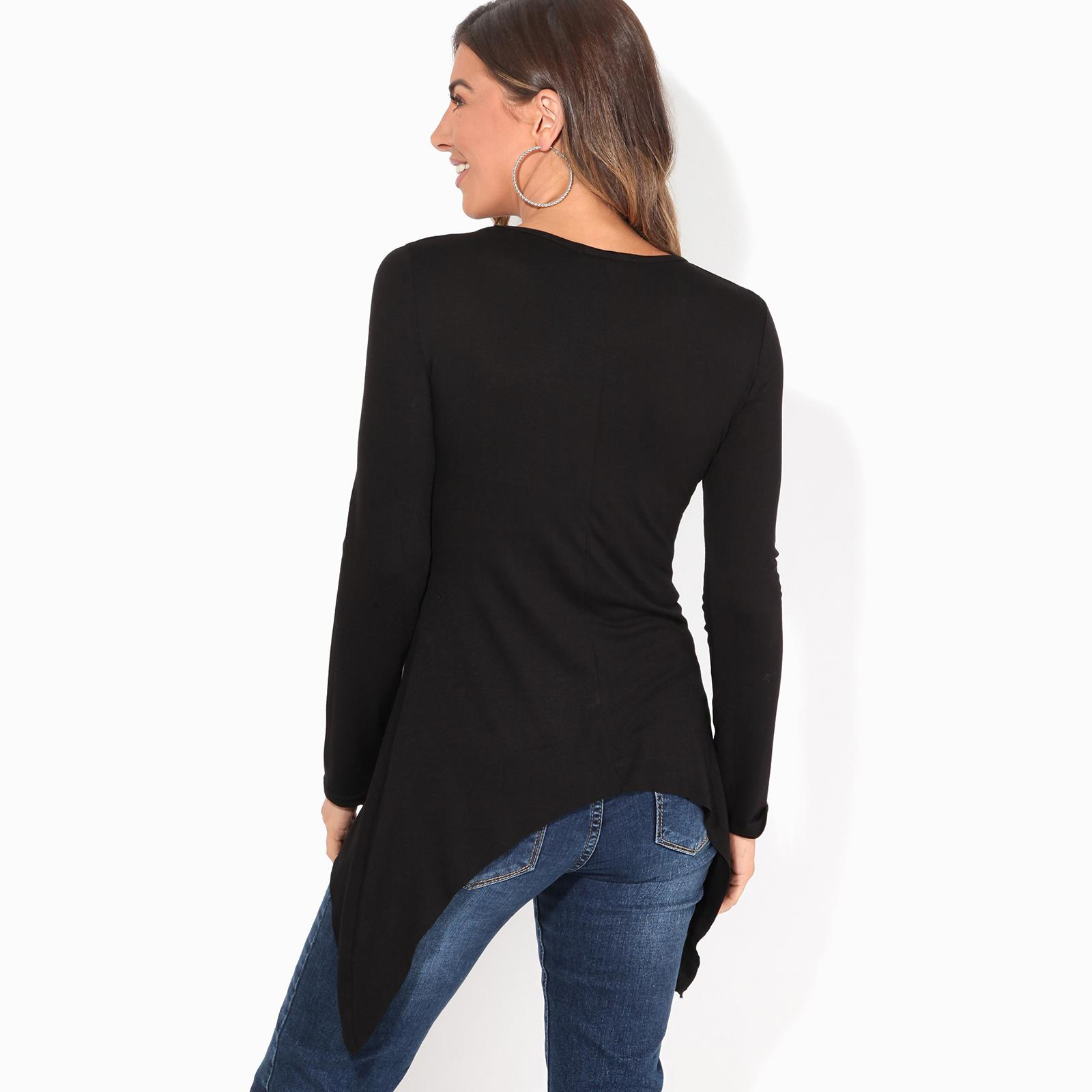 Womens-Ladies-Scoop-Neck-Blouse-Longline-T-Shirt-Flared-Top-Pleated-Long-Sleeve thumbnail 3