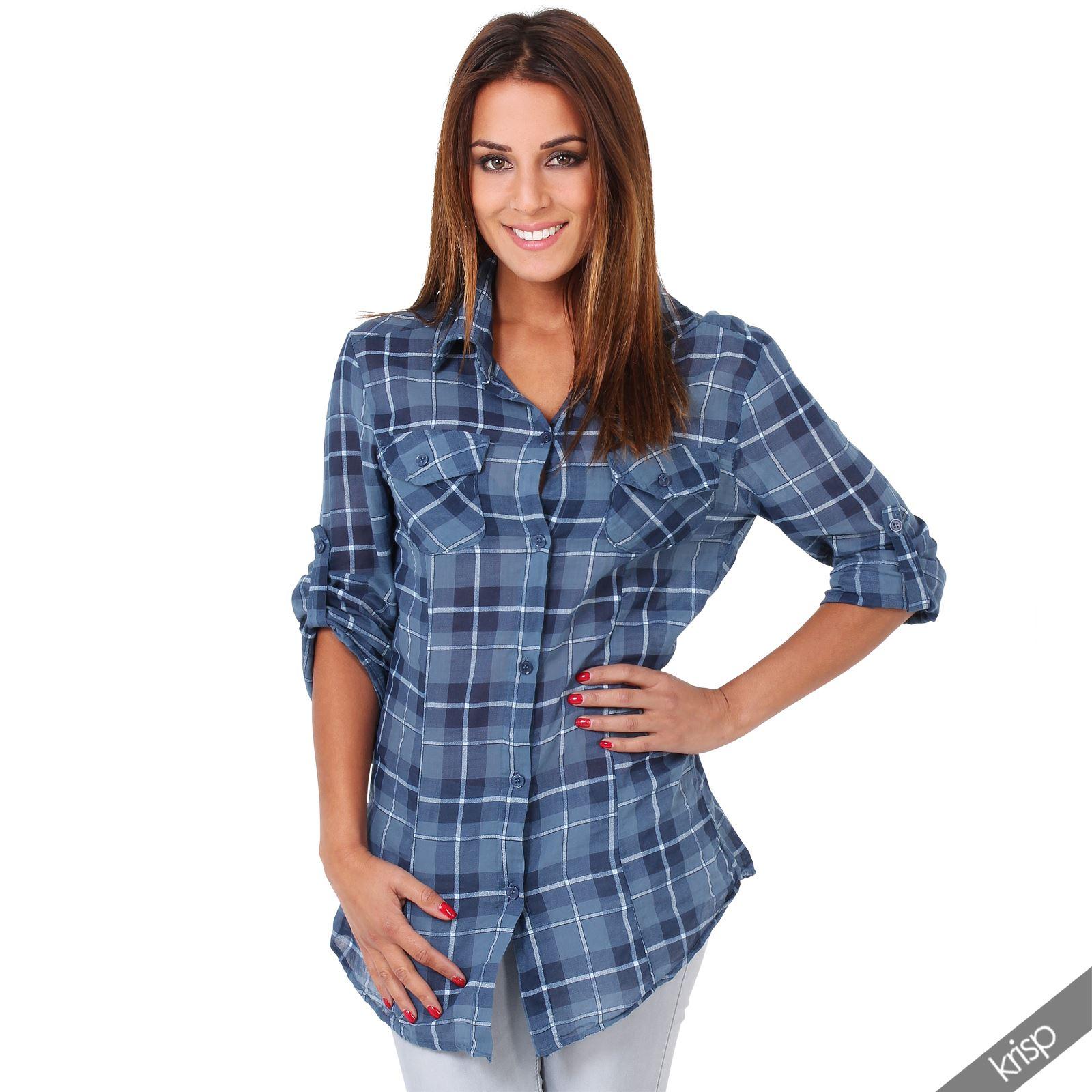 Womens soft checked tartan plaid lumberjack long sleeve for Women s stewart plaid shirt