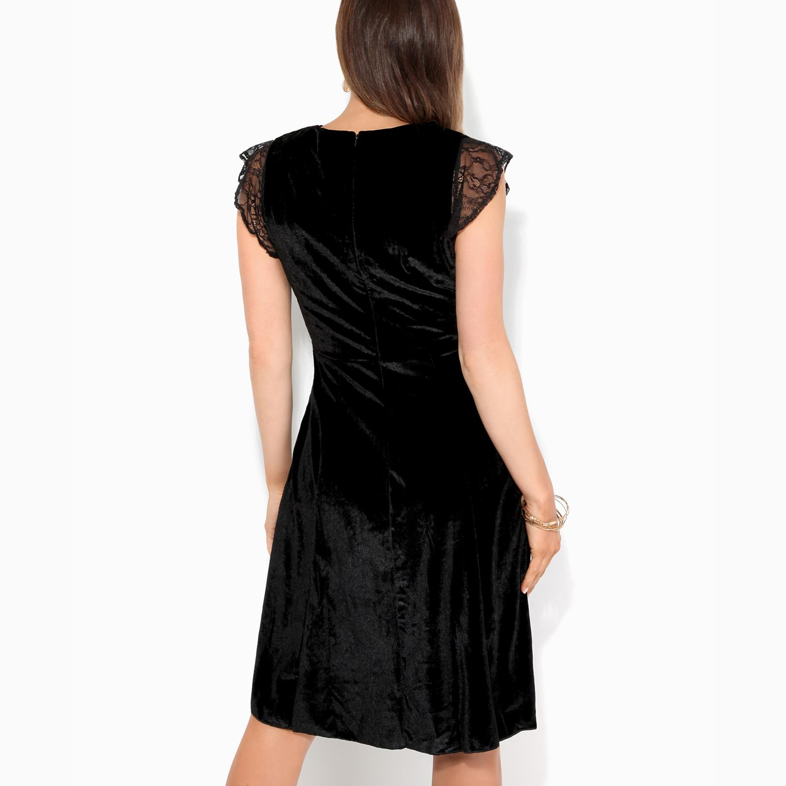 Women-Ladies-Lace-Velvet-Party-Midi-Skater-Dress-Stretch-Fit-Flared-Sexy-Evening thumbnail 4