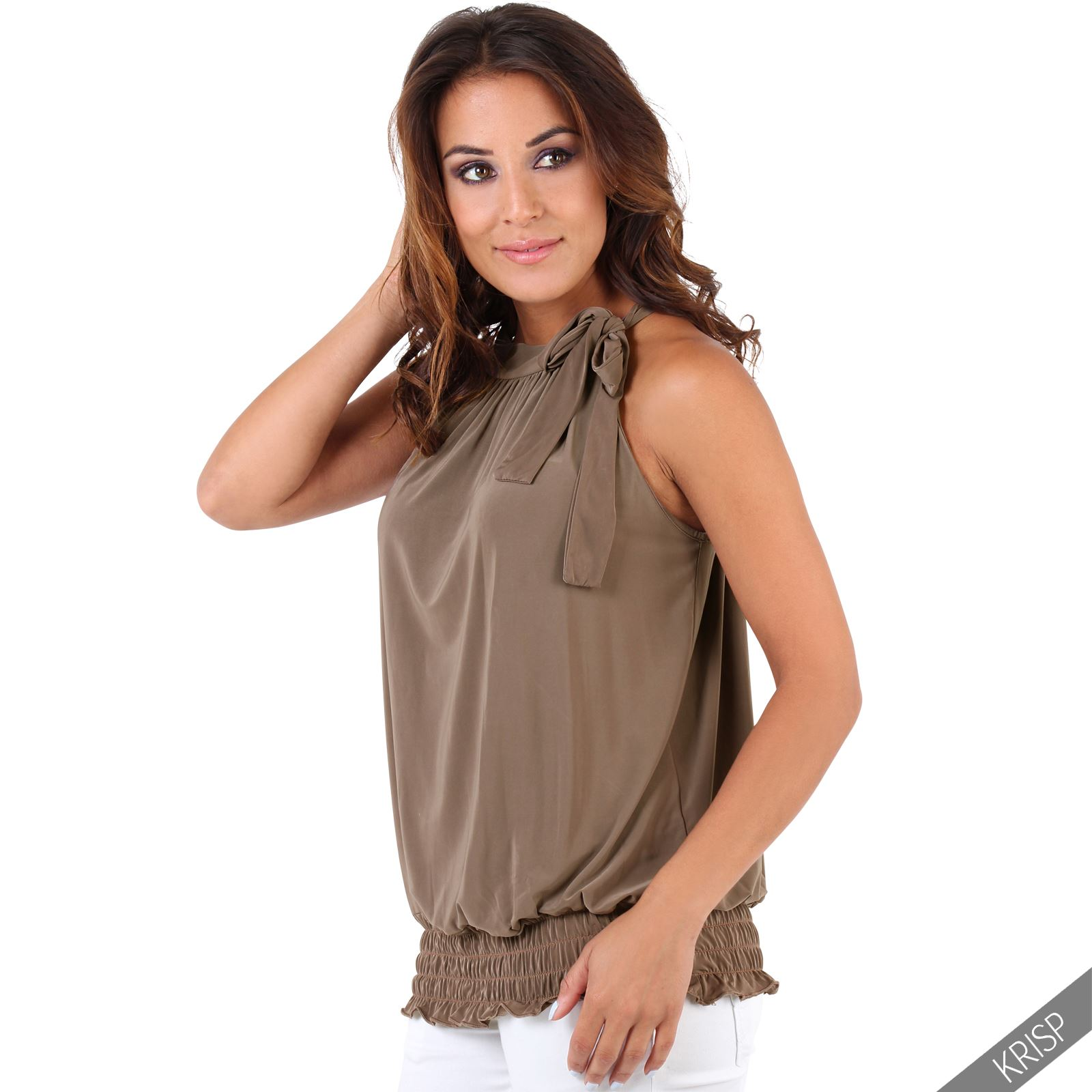 Womens-Ladies-Sleeveless-Blouse-Halter-Neck-Vest-Top-Party-T-Shirt-Plus-Size thumbnail 14