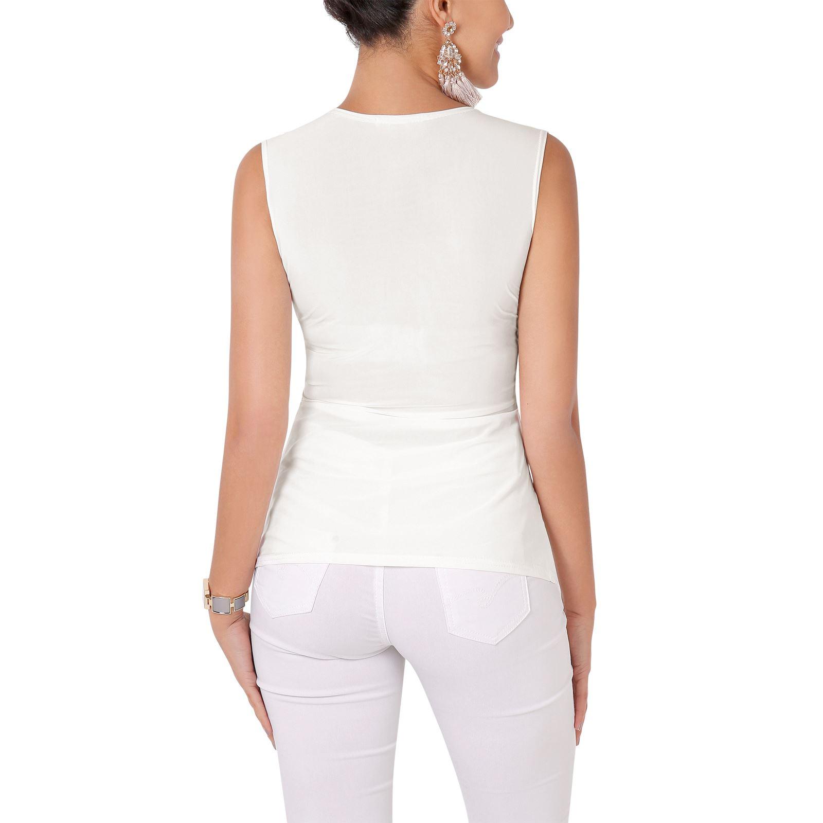 Femmes-Haut-Debardeur-T-shirt-Tee-Shirt-Top-Sans-Manche-Uni-Affaires-Ete-Plage miniature 4