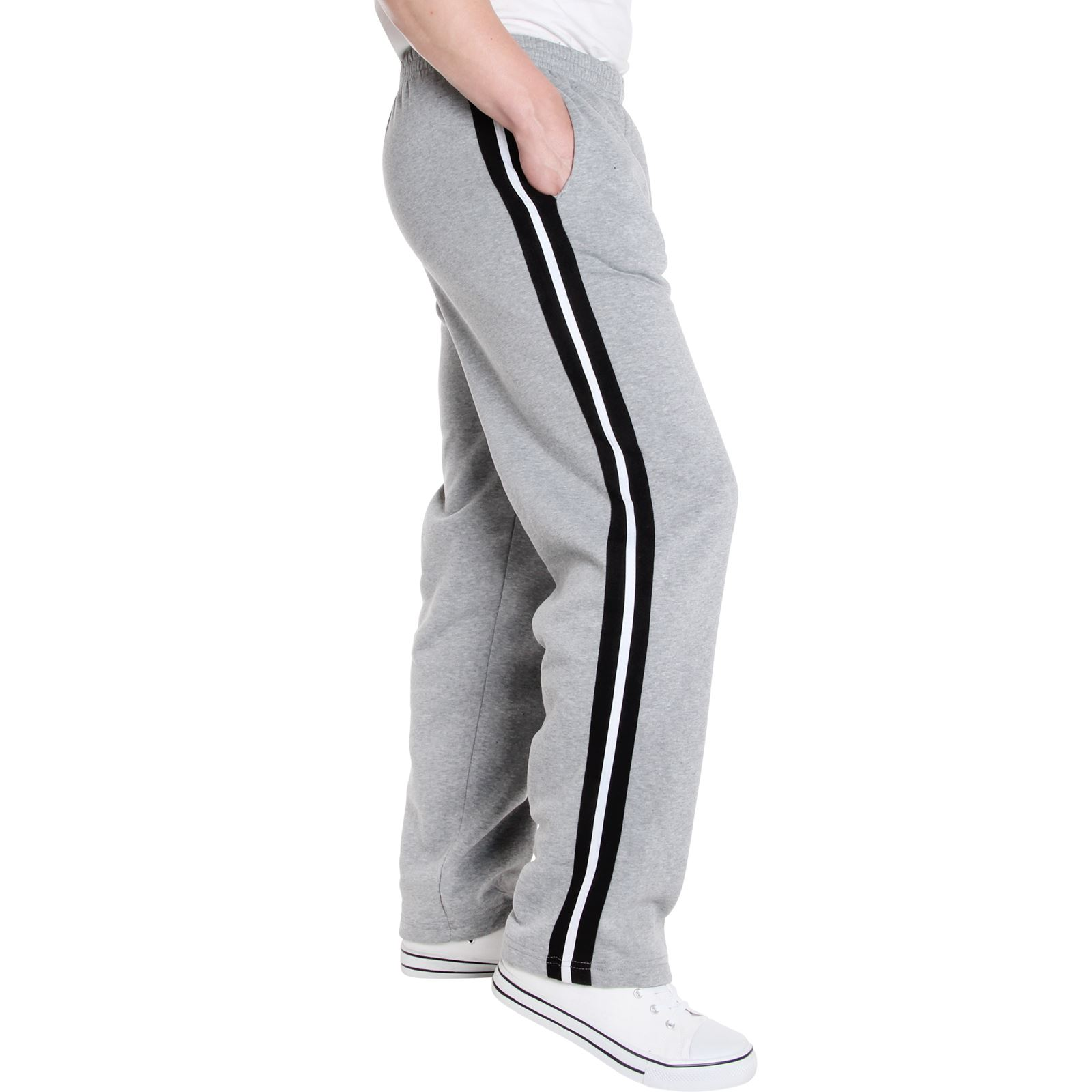 Mens-Tracksuit-Bottoms-Striped-Joggers-Jogging-Trousers-Fleece-Pants-Casual-Work thumbnail 23