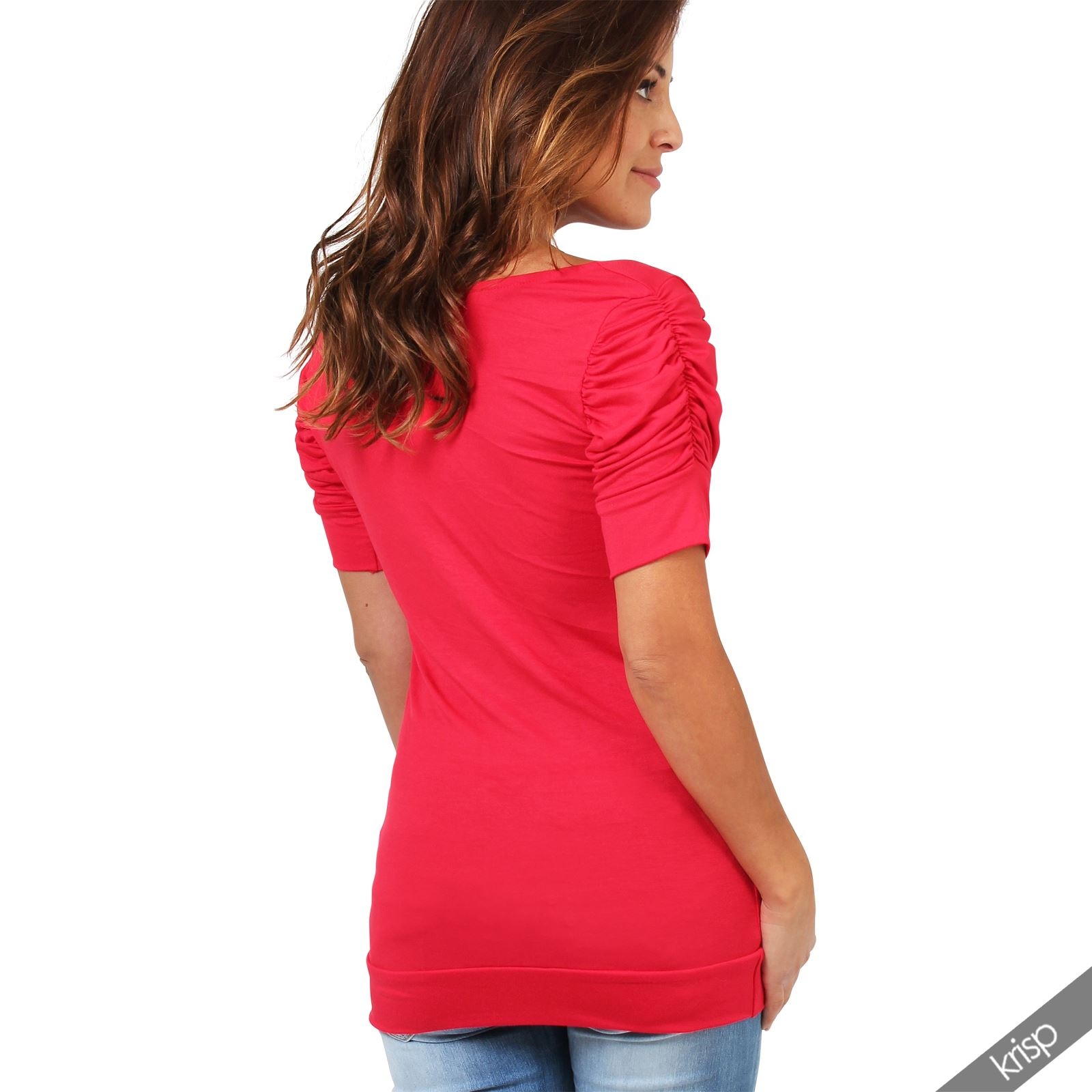 Womens-Ladies-Long-Blouse-Ruched-Pleated-Sleeve-Stretch-Jersey-Plunge-Top-Tshirt thumbnail 28