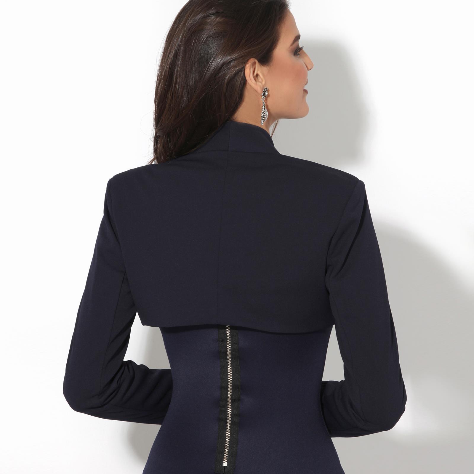 Femmes-Veste-Courte-Bolero-Blazer-Jacket-Manche-3-4-Gilet-Cardigan-Cache-Epaule miniature 5