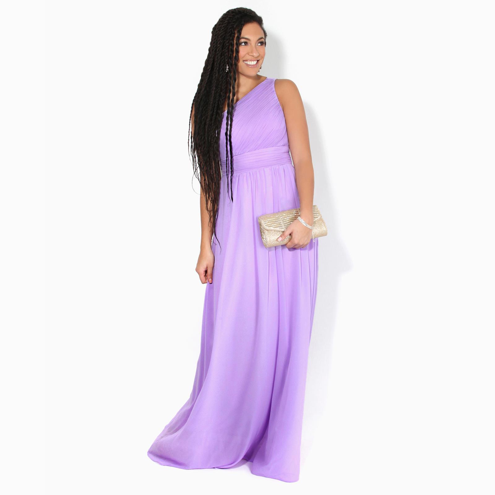 Womens-Wedding-Bridesmaid-Prom-Dress-Formal-One-Off-Shoulder-Long-Evening-8-18 thumbnail 32