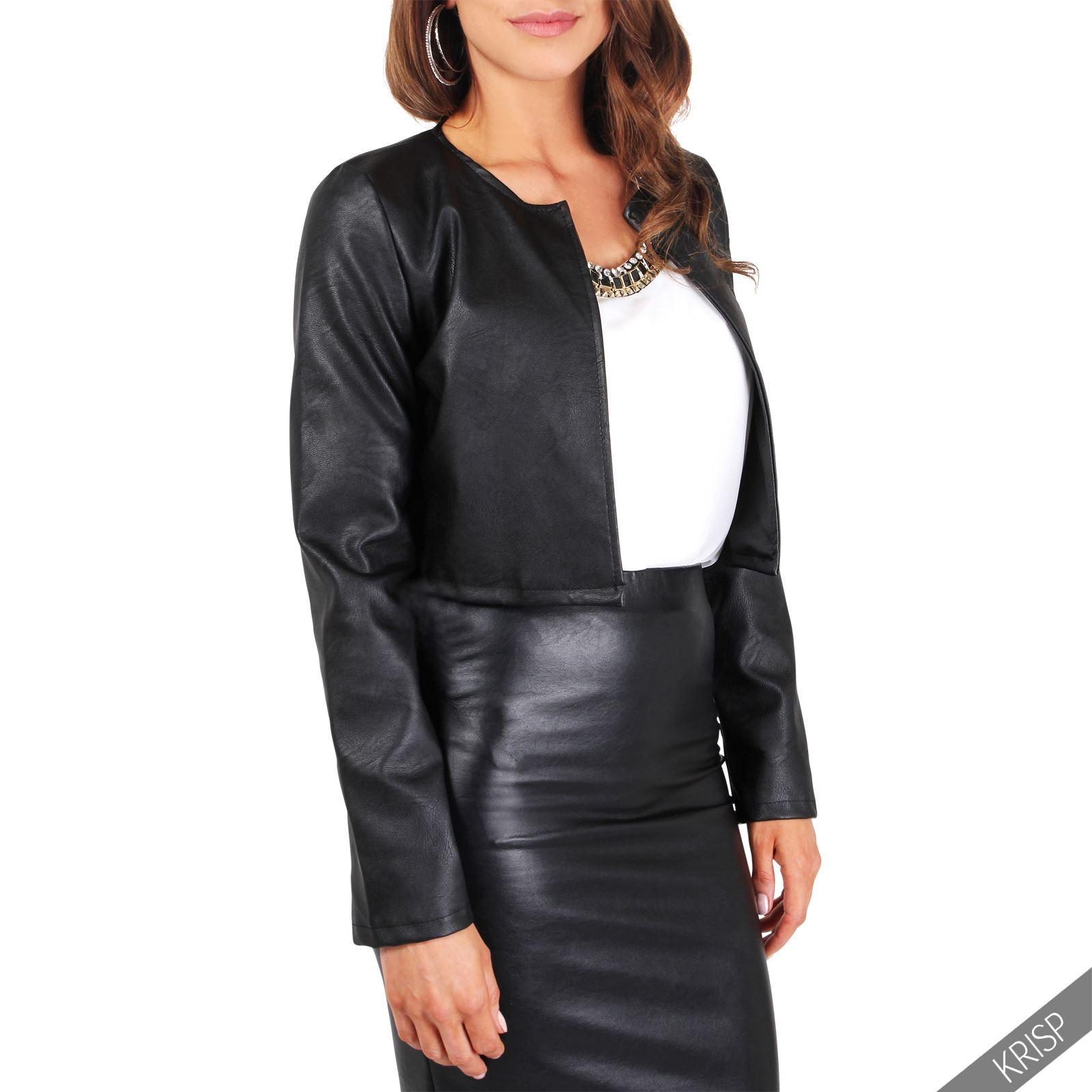 femmes veste blazer bol ro court mini bomber cuir bol ro jacket gilet cardigan ebay. Black Bedroom Furniture Sets. Home Design Ideas