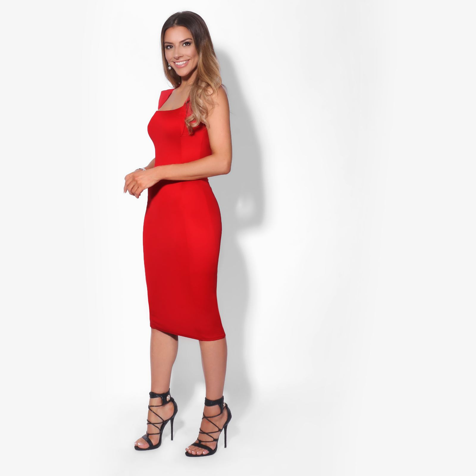 Womens-Pencil-Midi-Bodycon-Dress-Square-Neck-Panelled-Sexy-Zip-Party-Evening thumbnail 20