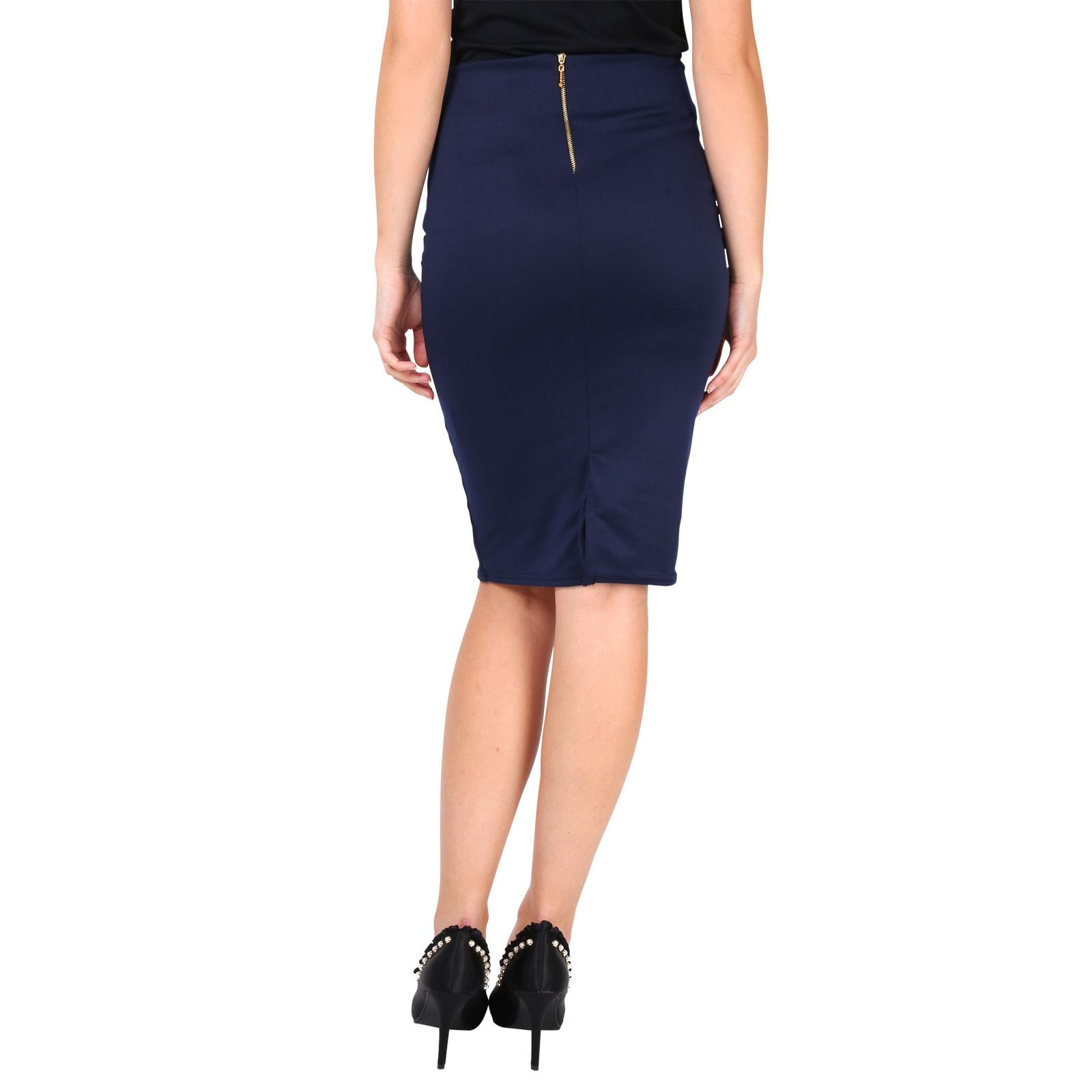 Womens-Ladies-Pencil-Midi-Skirt-Stretch-Fitted-Belt-Bodycon-Office-Work-8-20 thumbnail 13