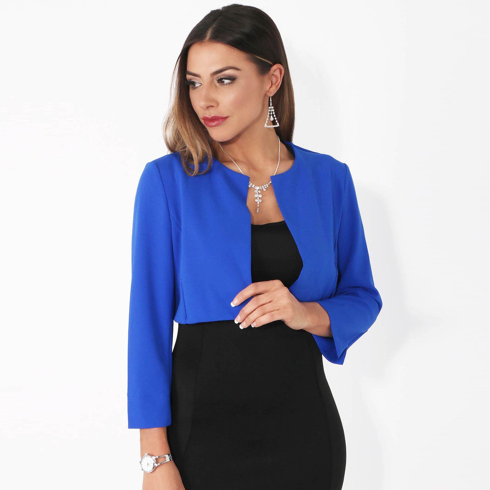 Womens-Ladies-Bolero-Shrug-Crop-Top-Open-Fit-Blazer-Evening-Bow-Jacket-Wedding thumbnail 17