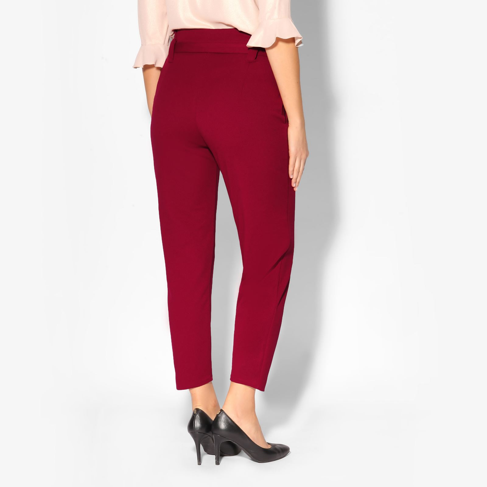 Women-High-Waist-Tapered-Pencil-Paperbag-Ladies-Trousers-Cigarette-Pants-Size thumbnail 7