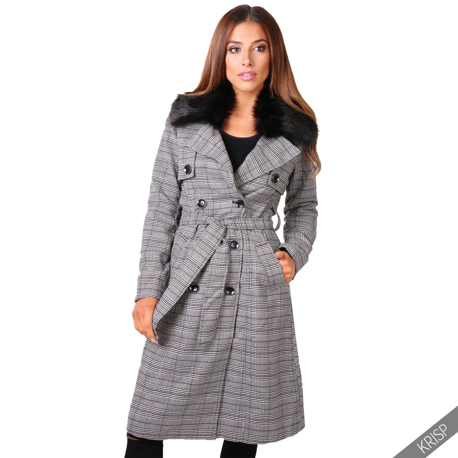 Womens Detachable Fur Collar Ladies Check Trench Coat ...