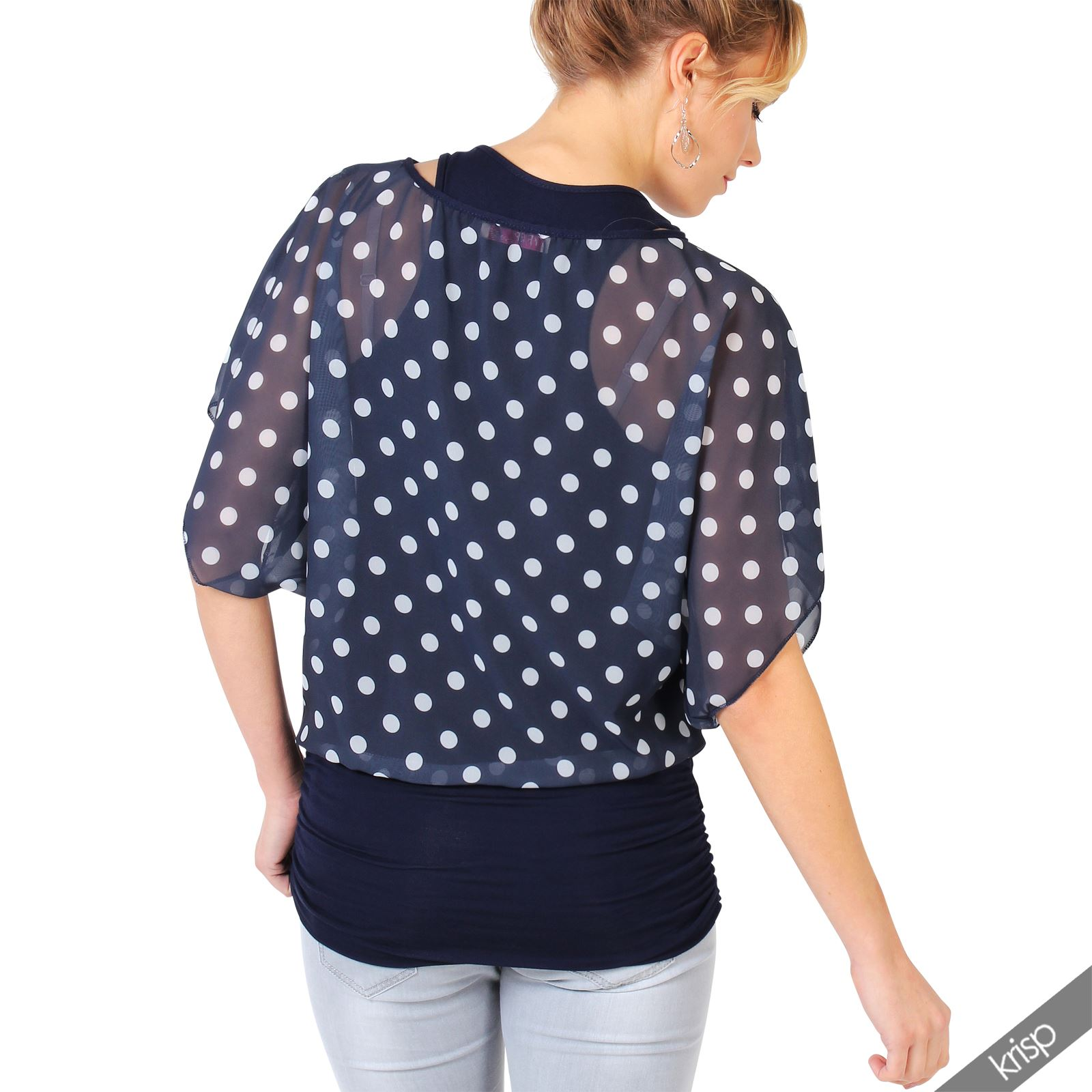 Womens-2-in-1-Polka-Dot-Cape-Kimono-Oversize-Batwing-Top-Chiffon-Blouse-Party