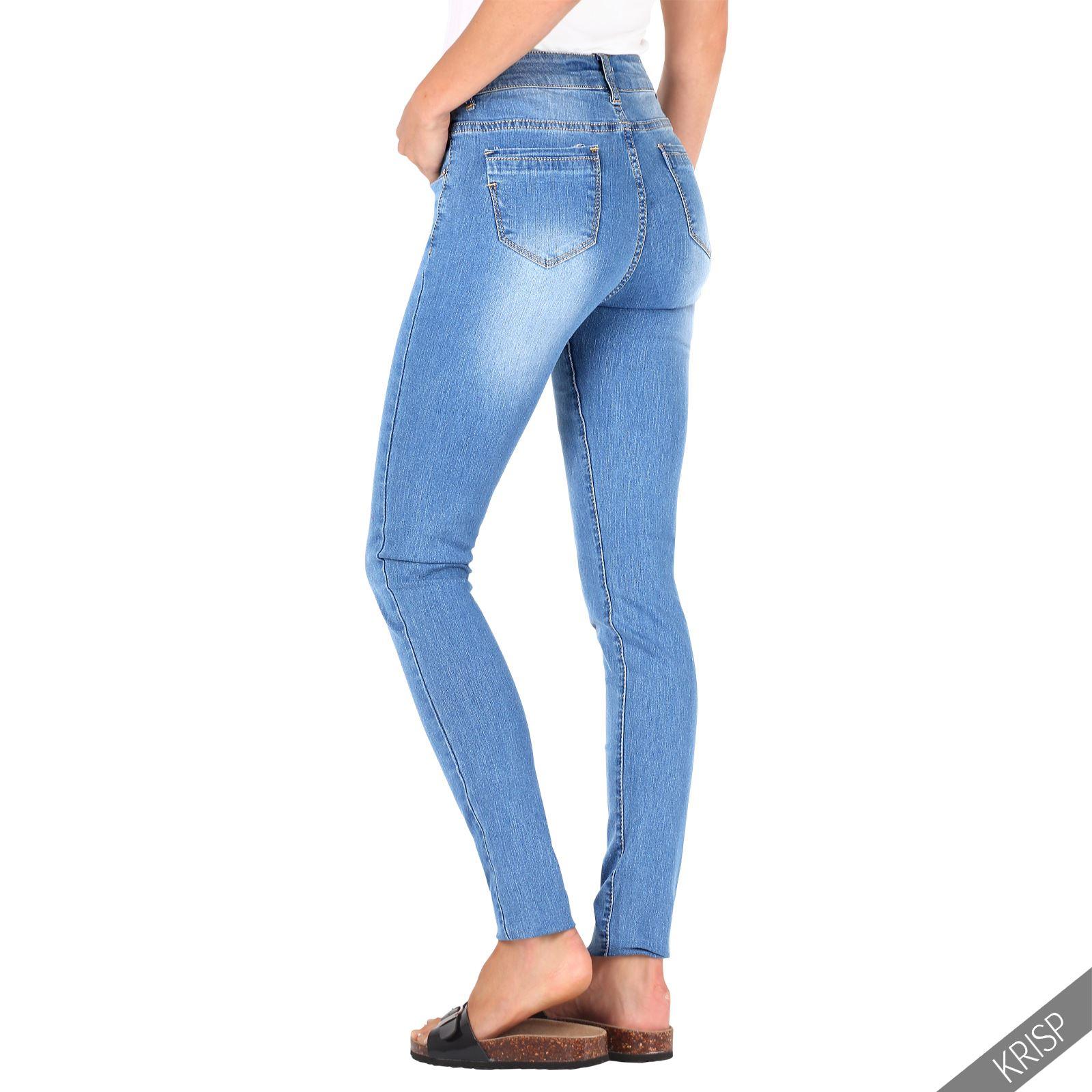 damen frauen helle slim fit jeans mit waschung ausgewaschene skinny stretch hose ebay. Black Bedroom Furniture Sets. Home Design Ideas