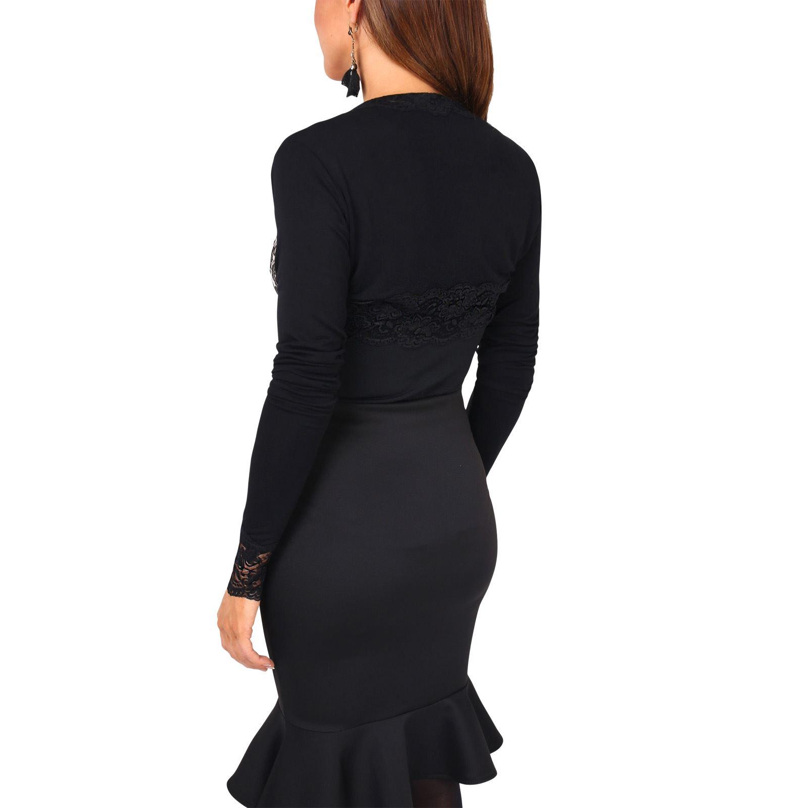Femme-Bolero-Cardigan-Gilet-Dentelle-Crochet-Soiree-Classique-Uni-Court-Elegant miniature 9