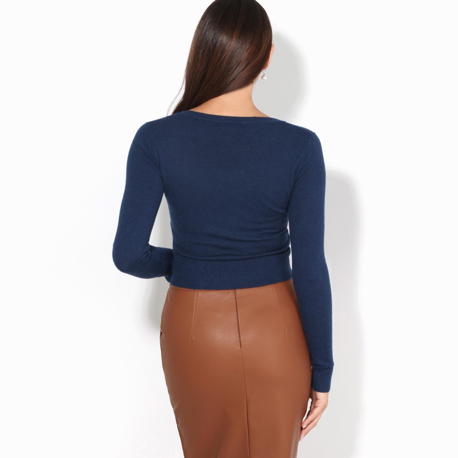 KRISP/® Women Ladies Cashmere Knit Cardigan Zip Up Soft Jumper Long Sleeve Crop Top Work