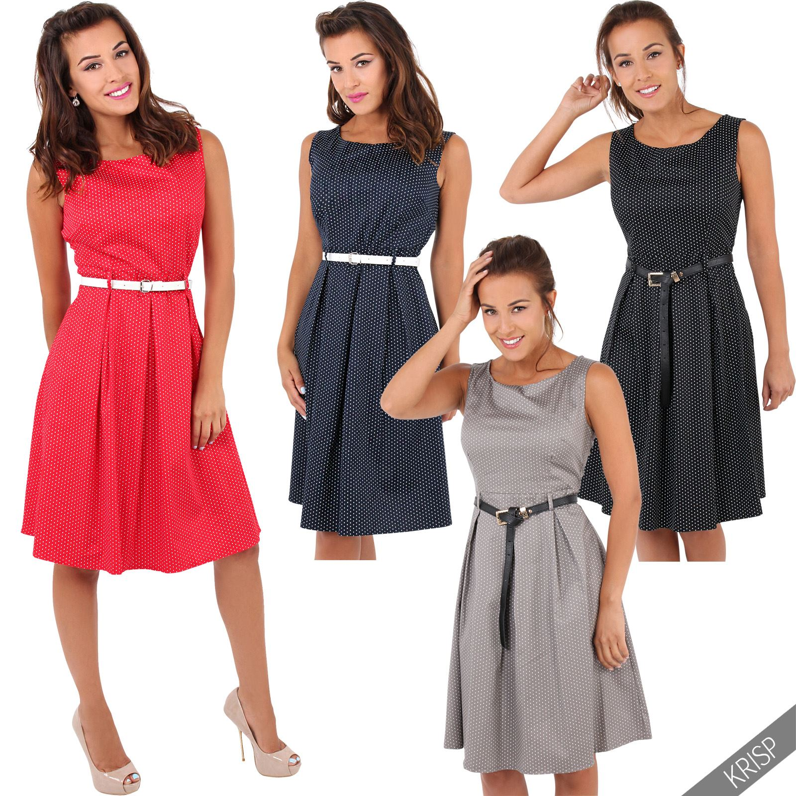 Womens Vintage 50s 60S ROCKABILLY Flared Pin Up Party Housewife Midi Swing Dress