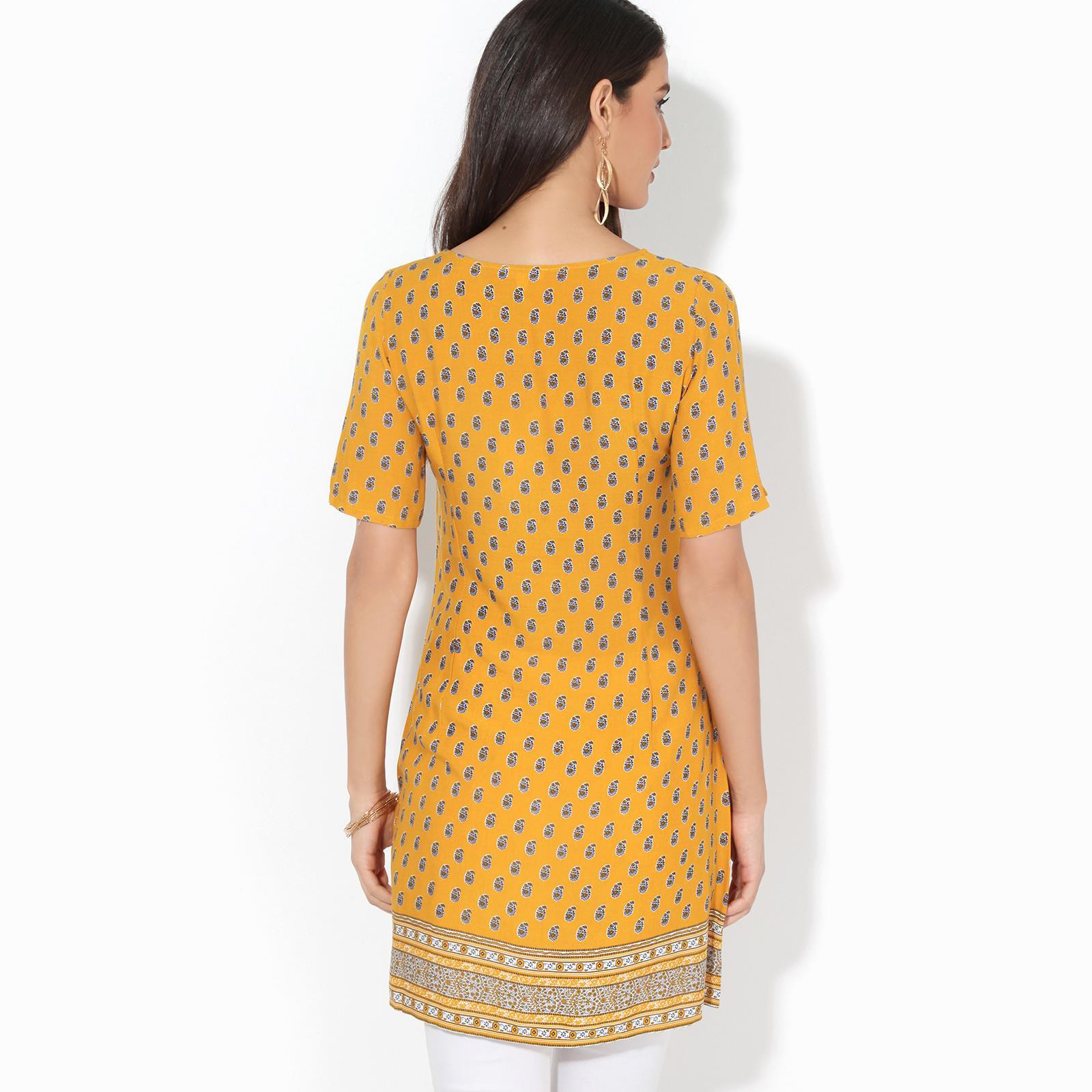 Womens-Ladies-Boho-Tunic-Top-Blouse-Button-Down-Printed-Long-Loose-Casual-Shirt thumbnail 3