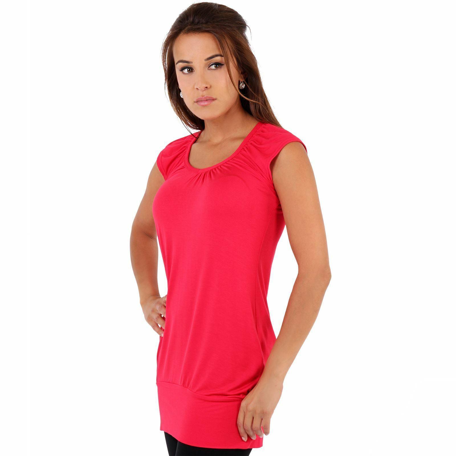Womens-Ladies-Plain-T-Shirt-Short-Sleeve-Long-Loose-V-Neck-Blouse-Tunic-Top thumbnail 48