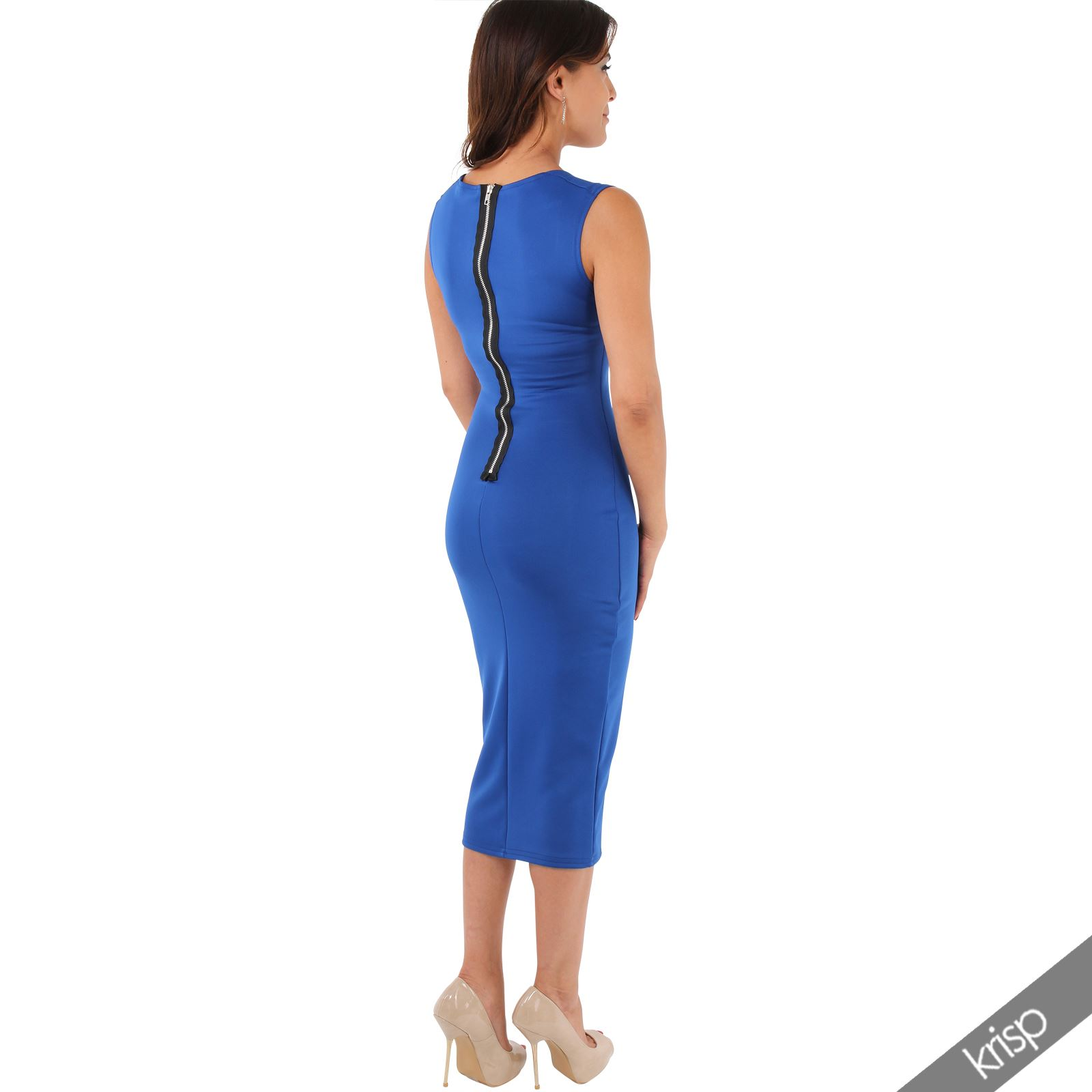 Womens-Pencil-Midi-Bodycon-Dress-Square-Neck-Panelled-Sexy-Zip-Party-Evening thumbnail 24