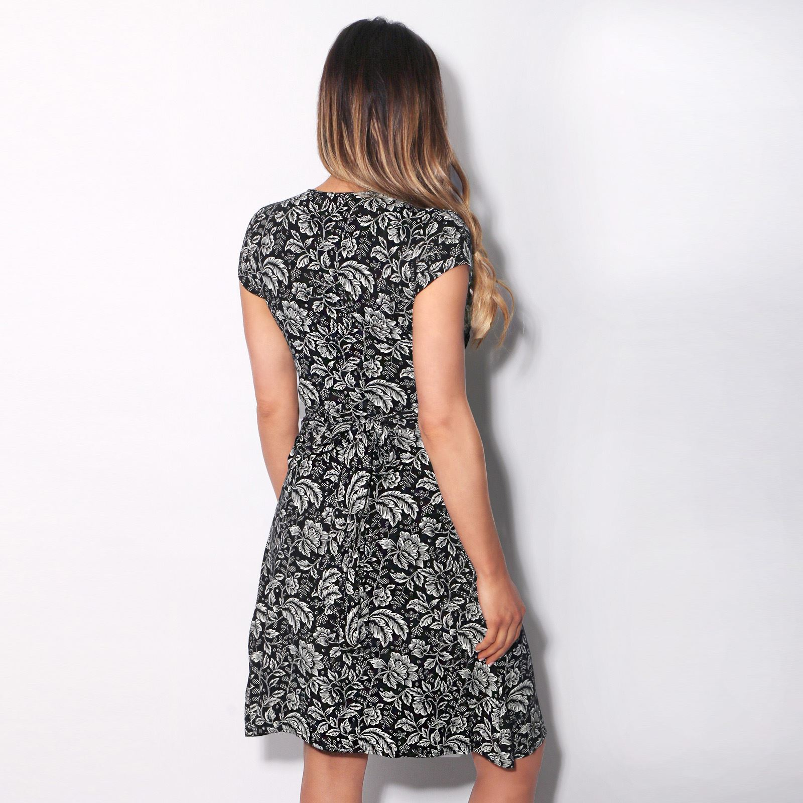 Womens-Ladies-V-Neck-Mini-Midi-Dress-Floral-Print-Knot-Short-Skirt-Party-Casual thumbnail 7