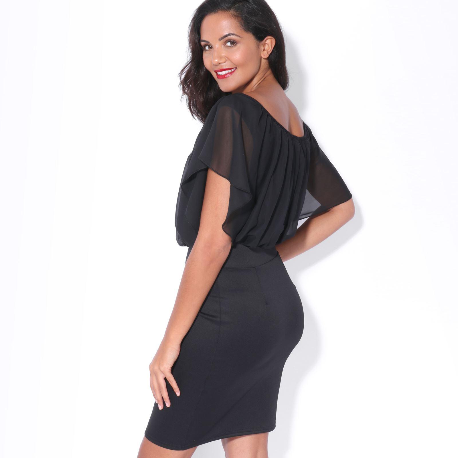 Womens-Pleated-Chiffon-Batwing-Top-High-Waist-Pencil-Bodycon-Skirt-Mini-Dress thumbnail 7
