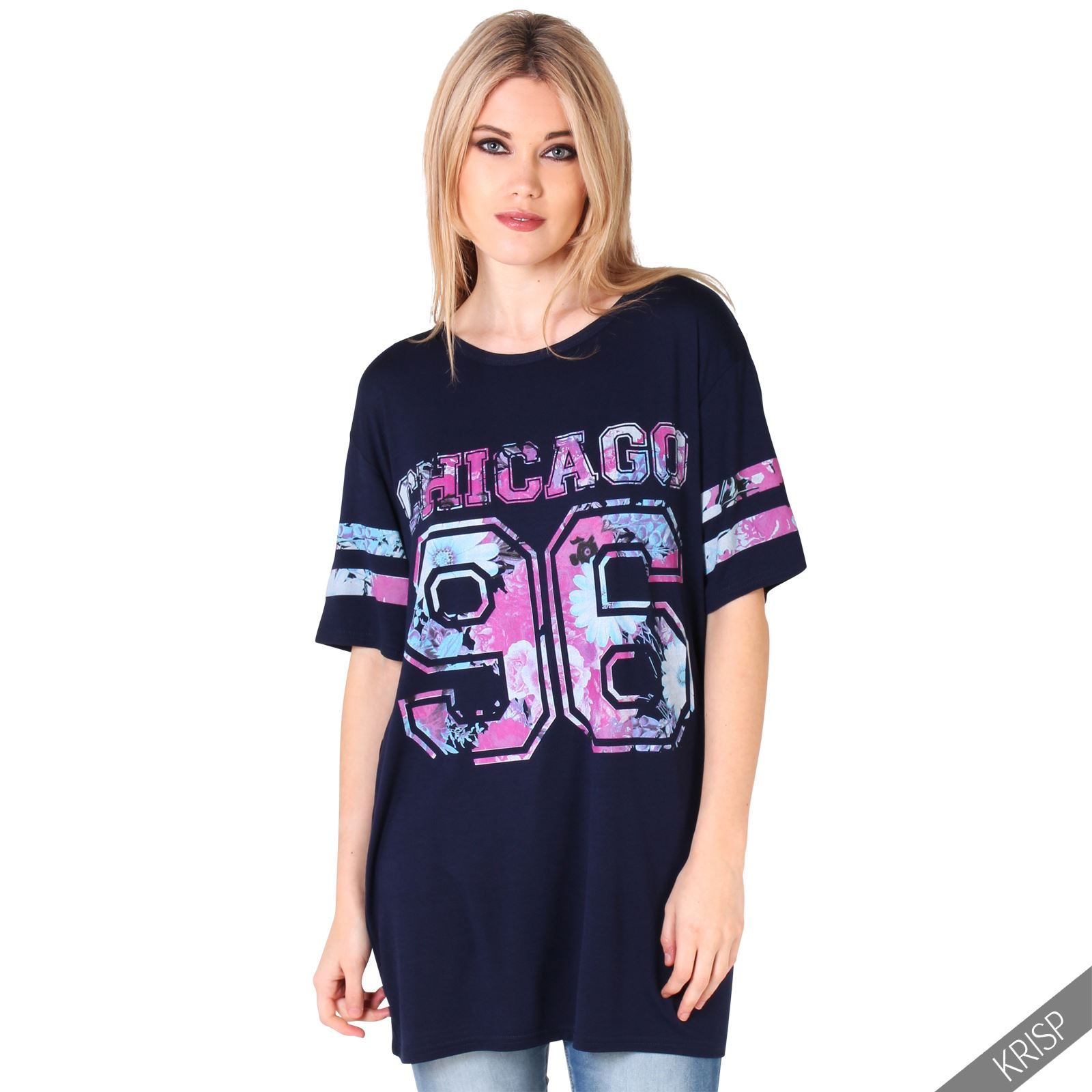 e653df04 Women Girls Oversized Baseball American Varsity Print Long School T ...