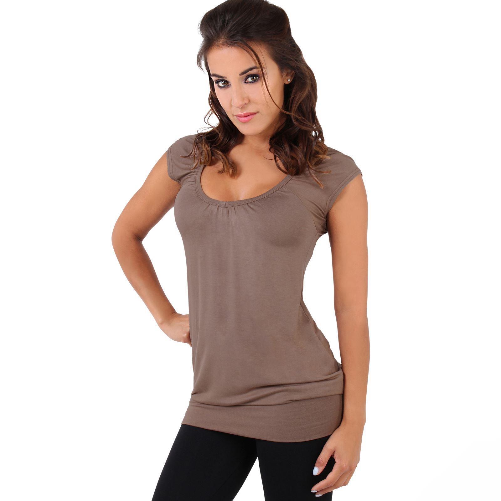 Womens-Ladies-Plain-T-Shirt-Short-Sleeve-Long-Loose-V-Neck-Blouse-Tunic-Top thumbnail 29