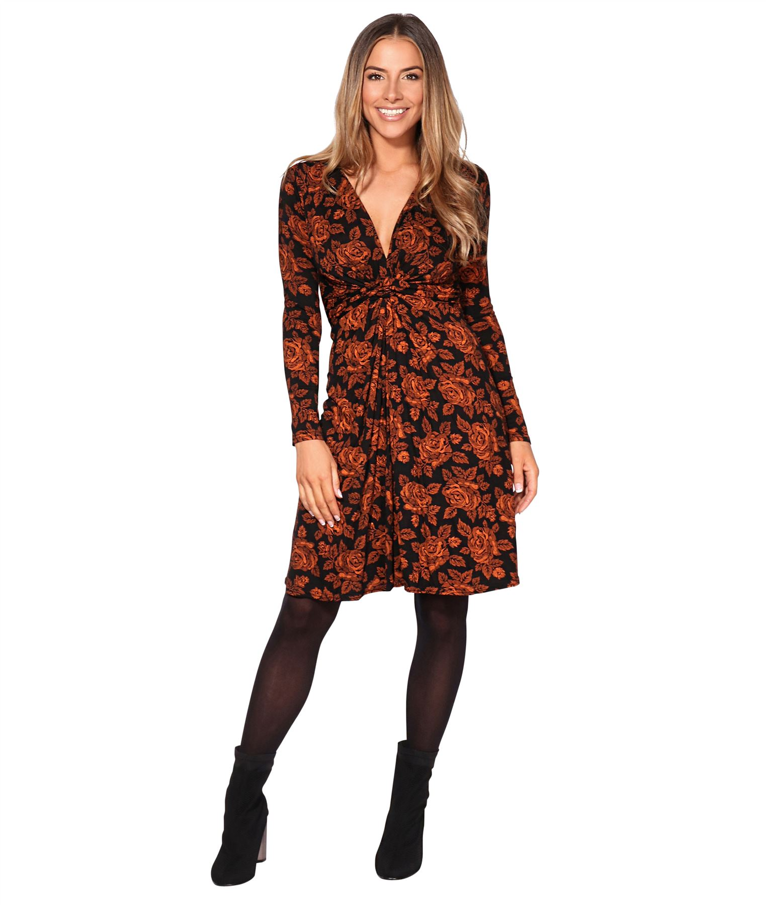 Womens-Ladies-Mini-Dress-Drape-Stretch-Long-Sleeve-Ruched-Twist-Knot-Party-Work thumbnail 47