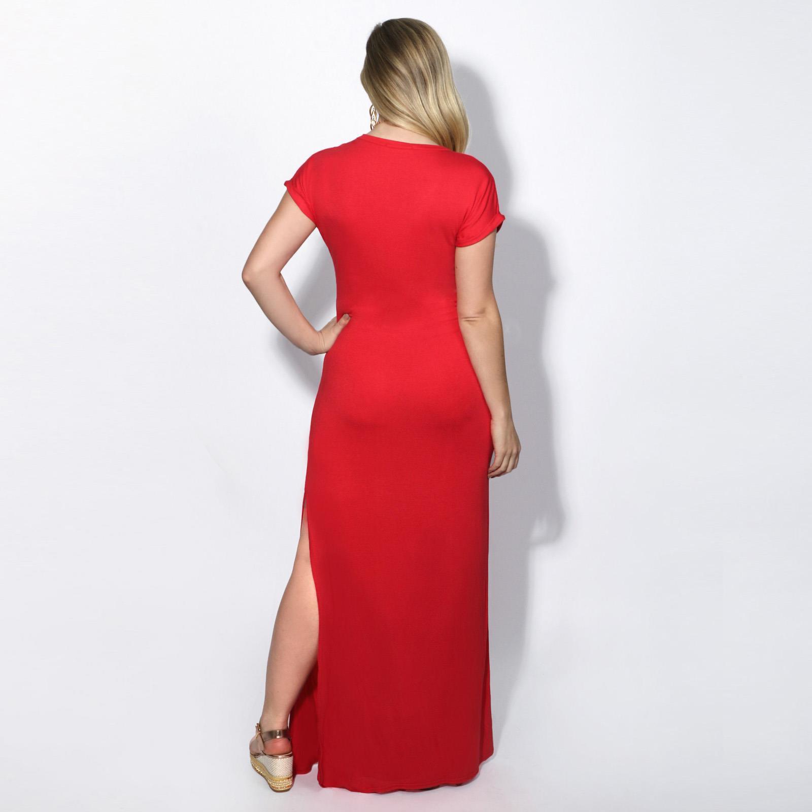 Robe-Femme-Longue-Plissee-Boheme-Sexy-Chic-Fente-Mode-Tunique-Manches-Courtes miniature 4